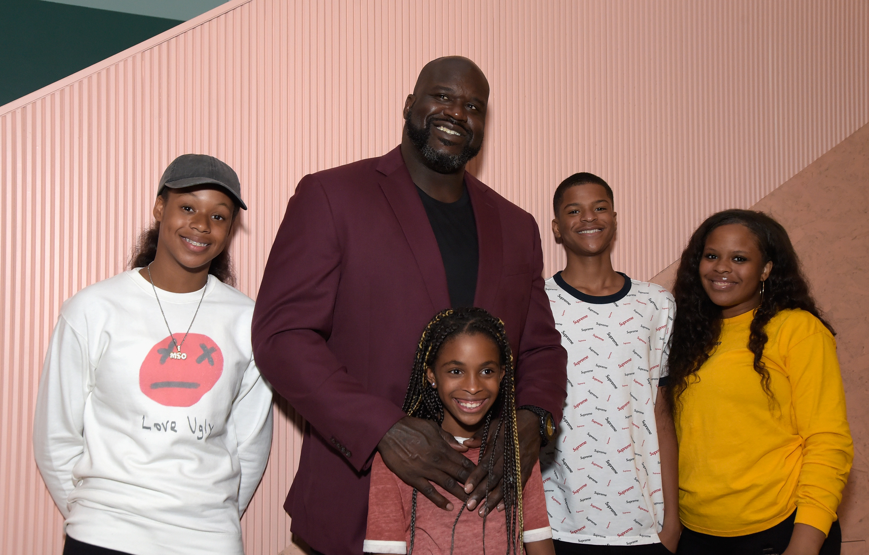 NBA player Shaquille O'Neal and kids