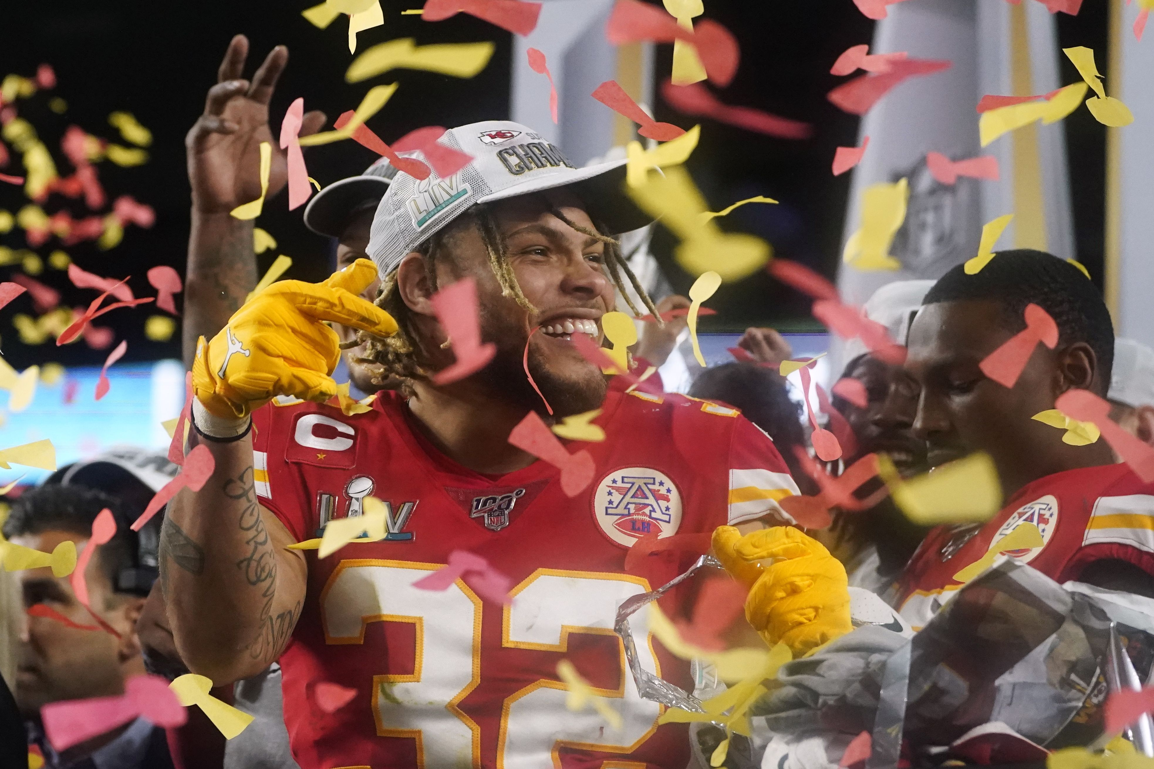 Tyrann Mathieu celebrating after winning the Super Bowl