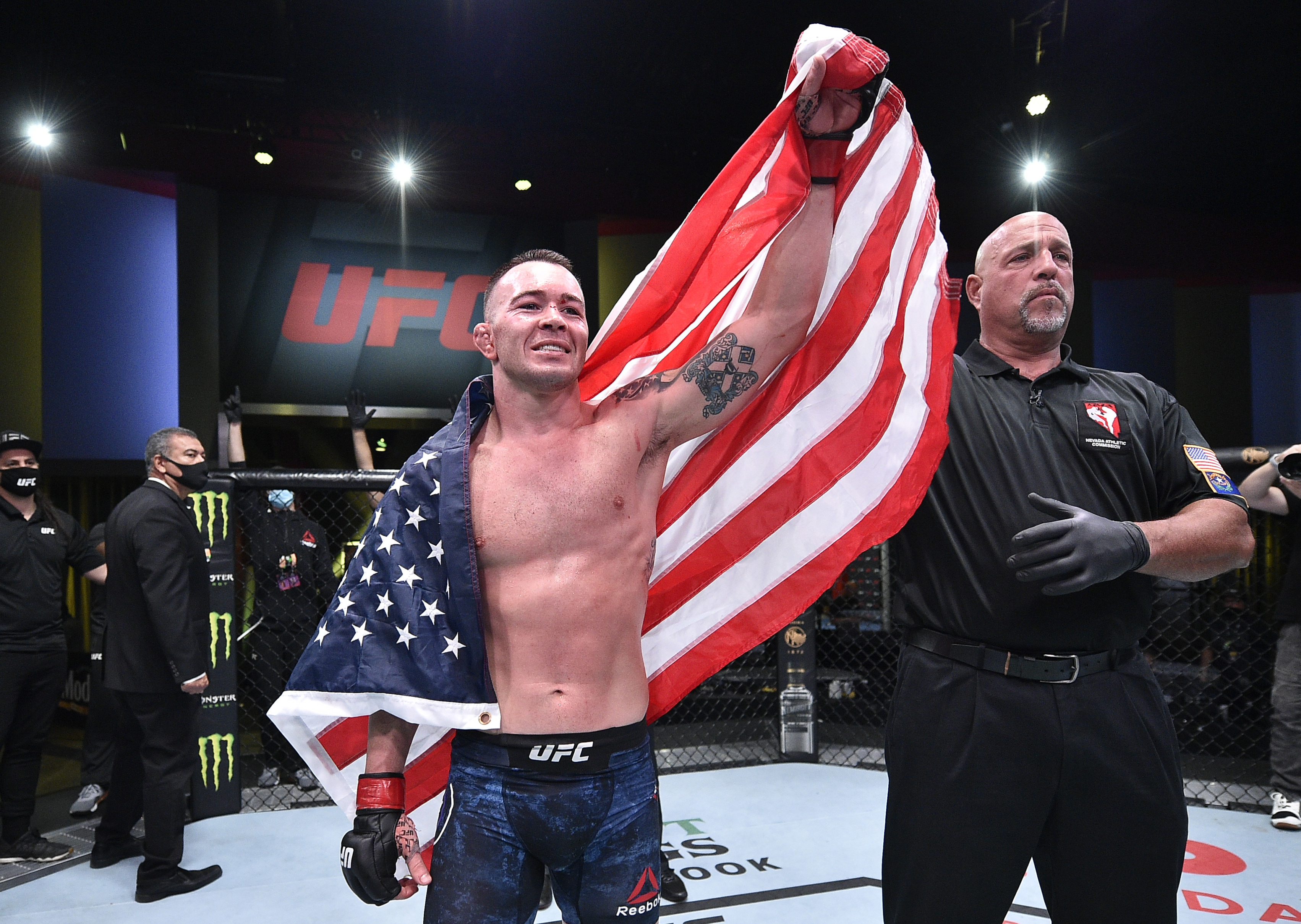Colby Covington celebrates after winning a UFC fight