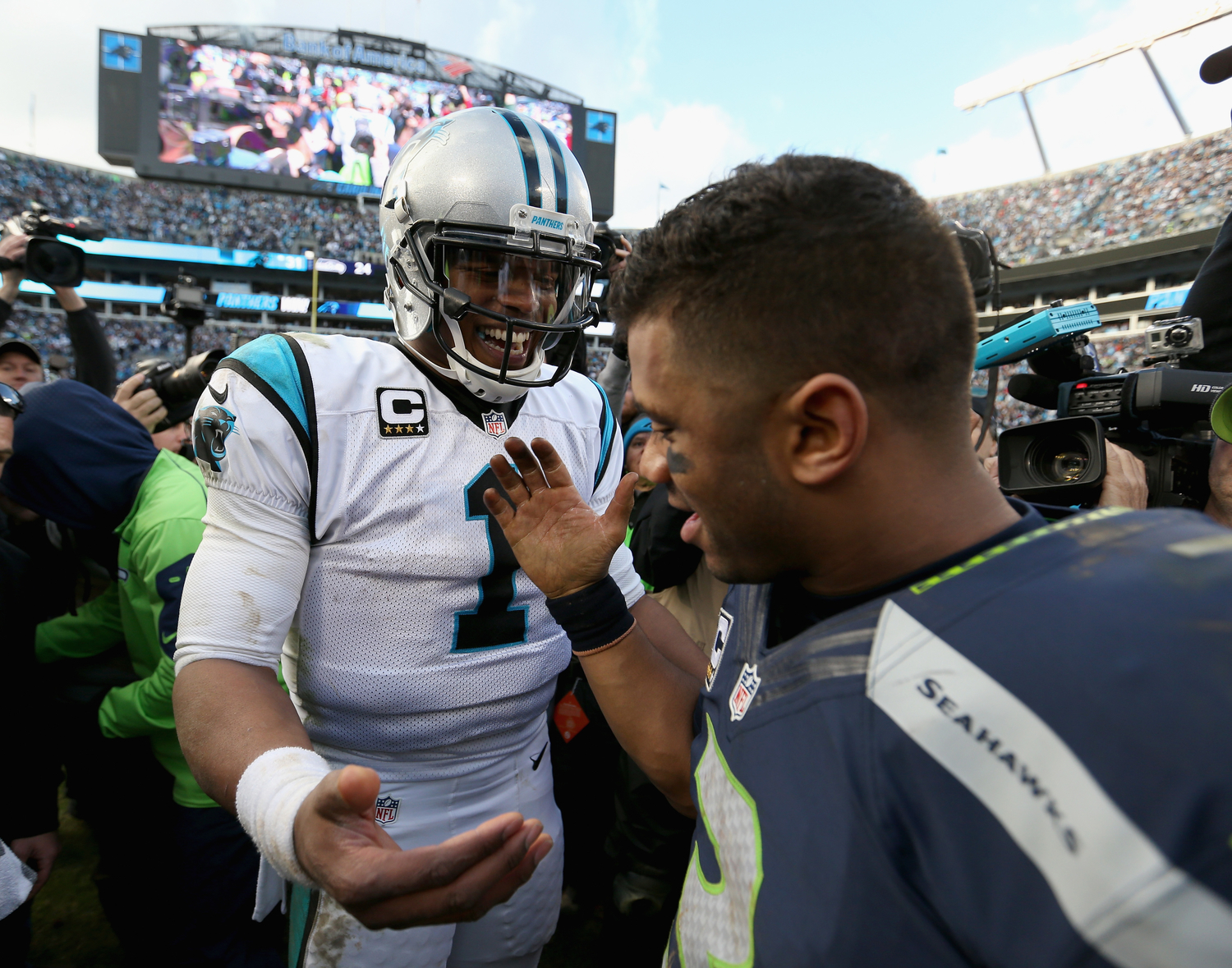 Cam Newton already accomplished the only achievement missing from Russell Wilson's resume, but the Seahawks QB still beats the Patriots star where it matters most with his $140 million contract and Super Bowl ring.