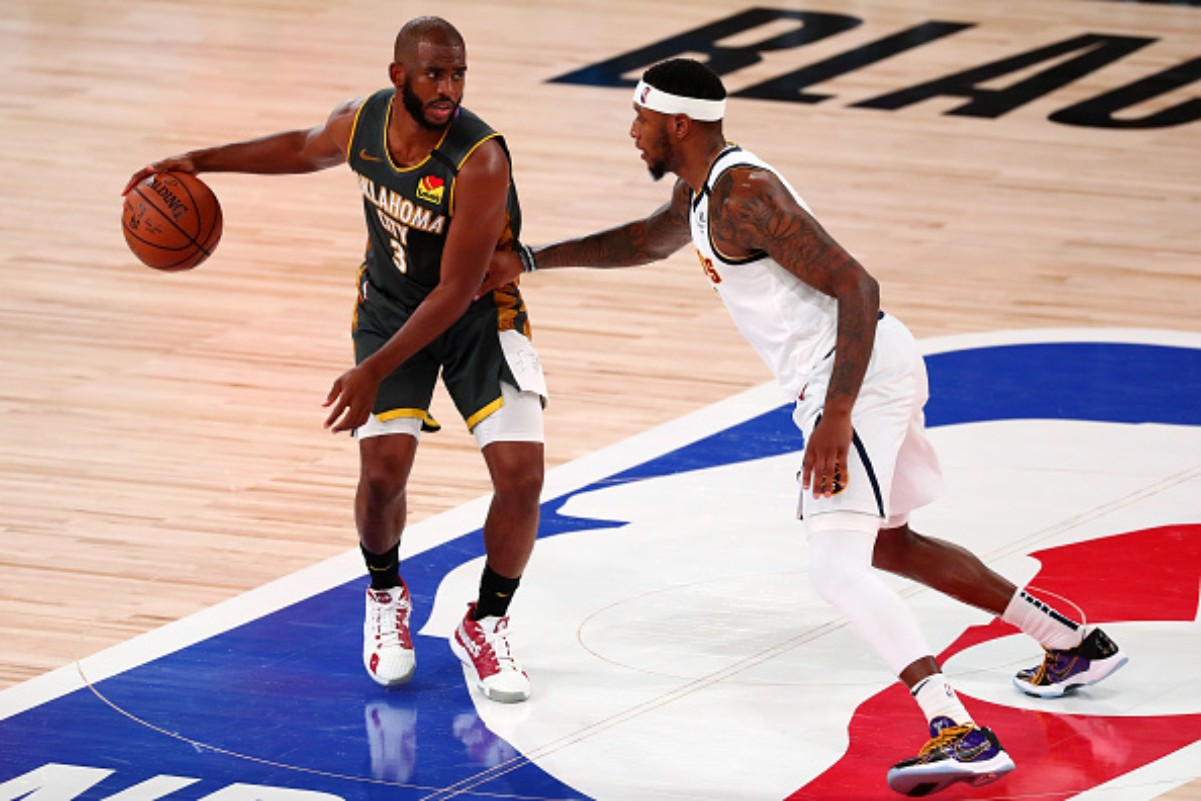 Chris Paul wore different shoes honroing HBCU's during the NBA bubble