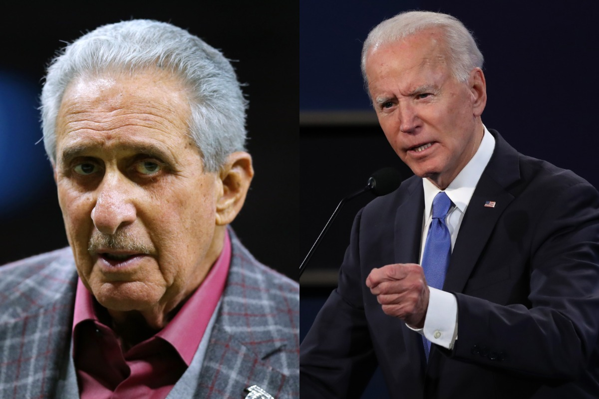 Atlanta Falcons owner Arthur Blank (L) donated nearly $40,000 to Joe Biden and the Democratic Party. Blank isn't the only sports figure making sizable political donations.