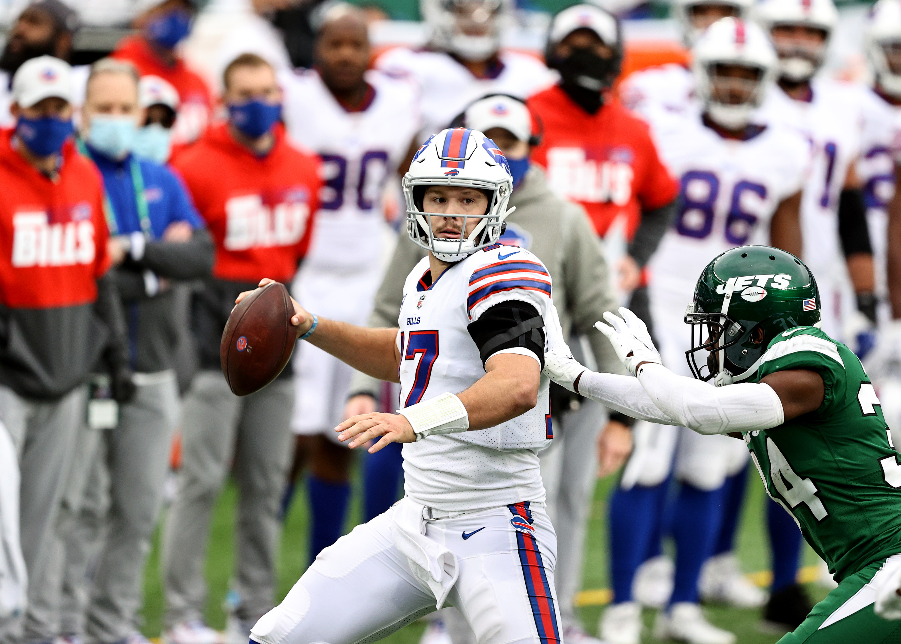 Josh Allen throwing a pass against the New York Jets