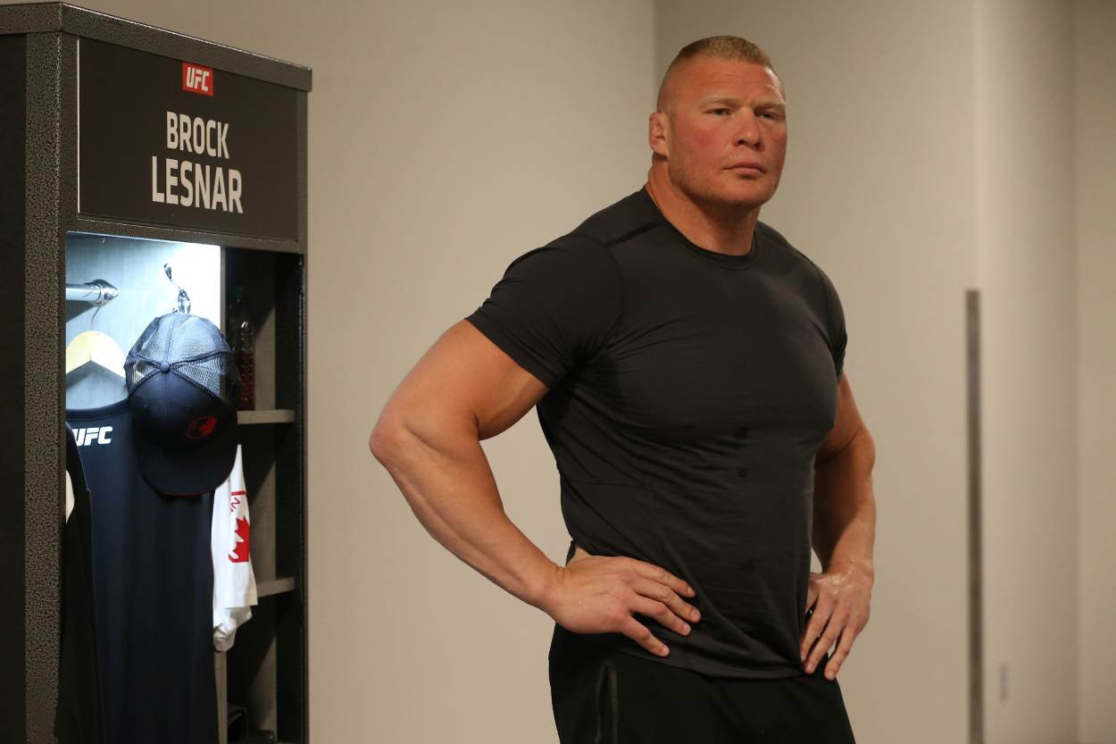 Brock Lesnar backstage before a UFC event