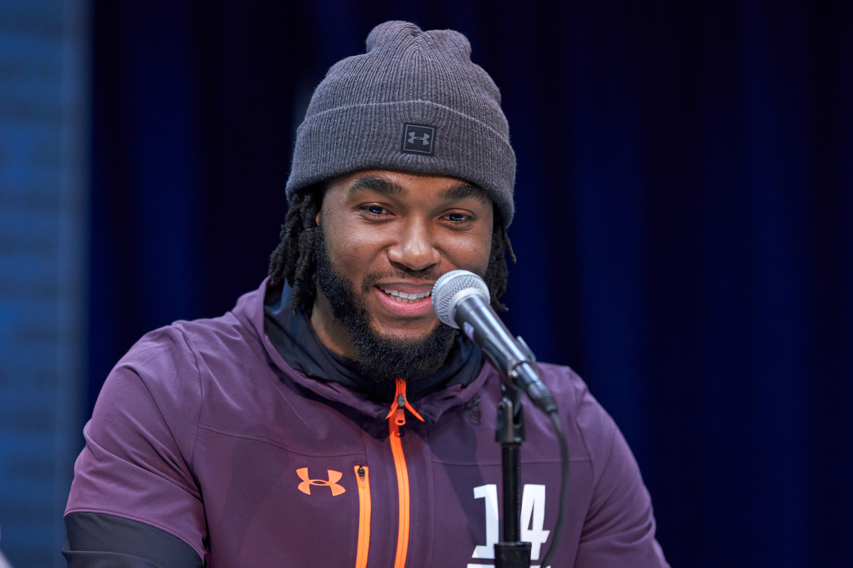Washington running back Bryce Love, seen at the 2019 NFL combine, has yet to play an NFL down because of injuries.