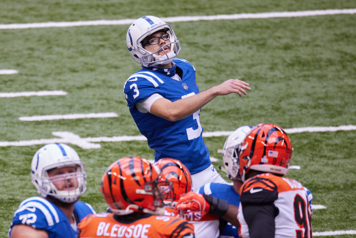 Rodrigo Blankenship watches one of his kicks during a Colts game