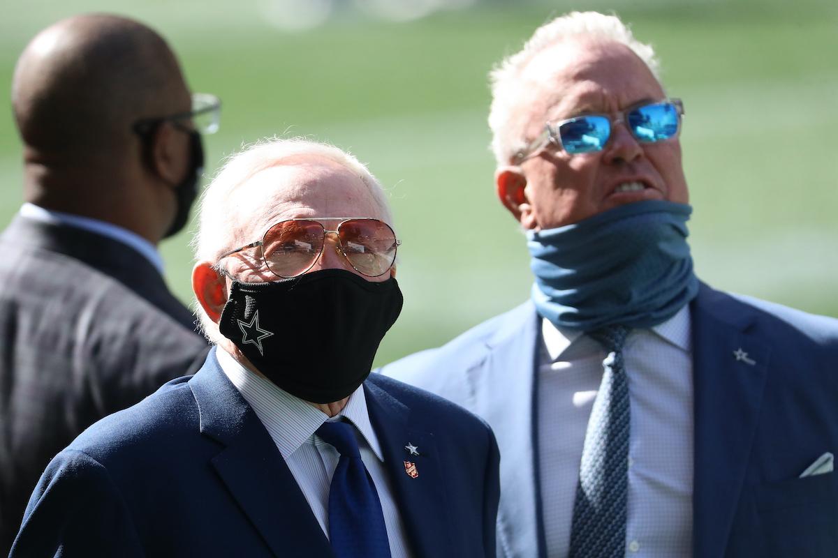 Cowboys owner Jerry Jones (L) and VP Stephen Jones