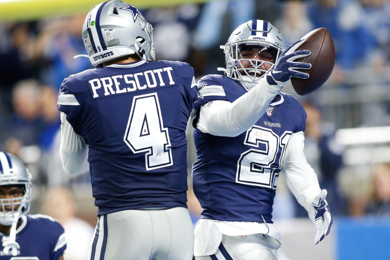 Ezekiel Elliott and Dak Prescott celebrate a touchdown