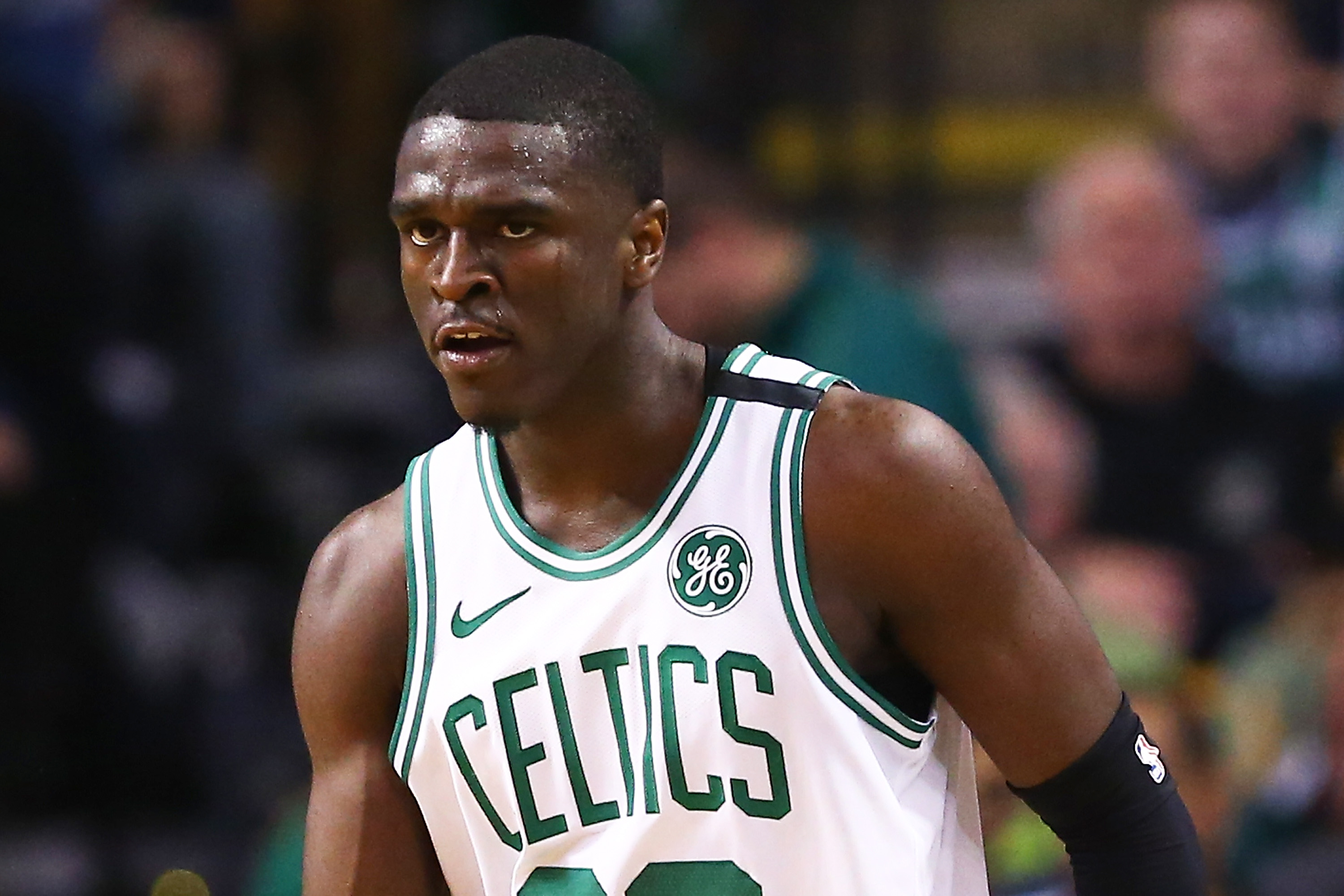 Jabari Bird looks on during a Celtics game