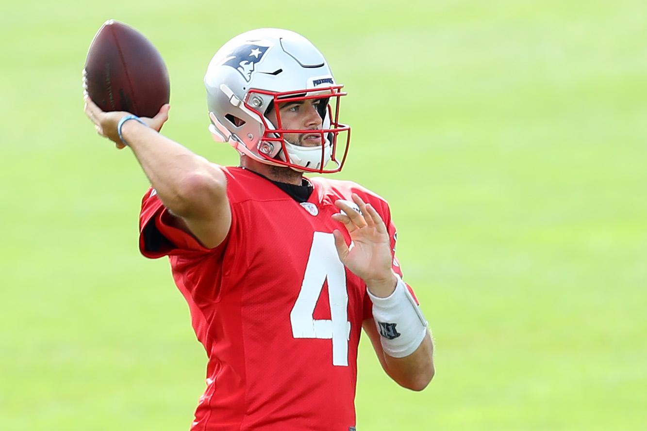 Jarrett Stidham at a New England Patriots practice