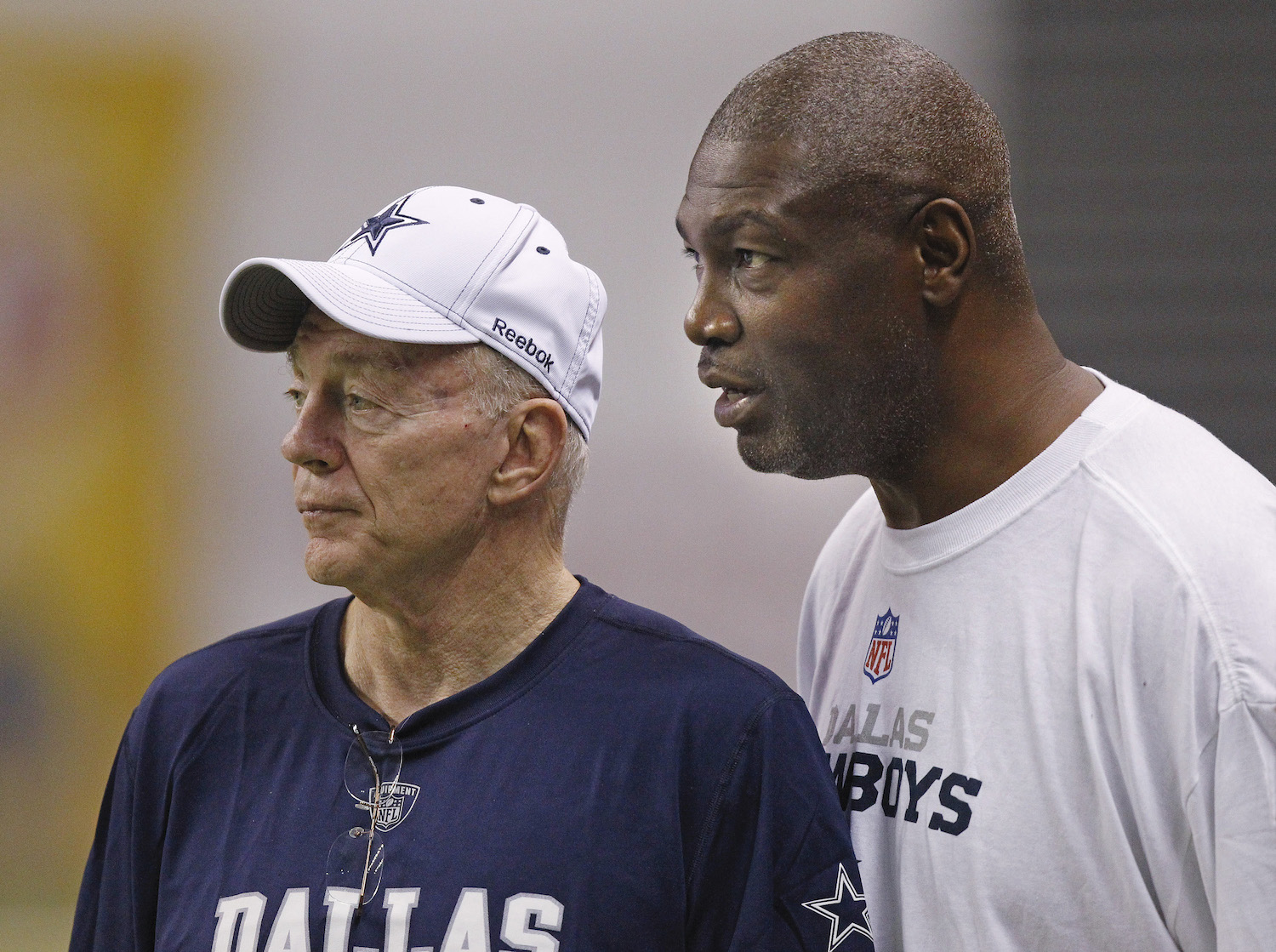 Dallas Cowboys owner Jerry Jones and Charles Haley