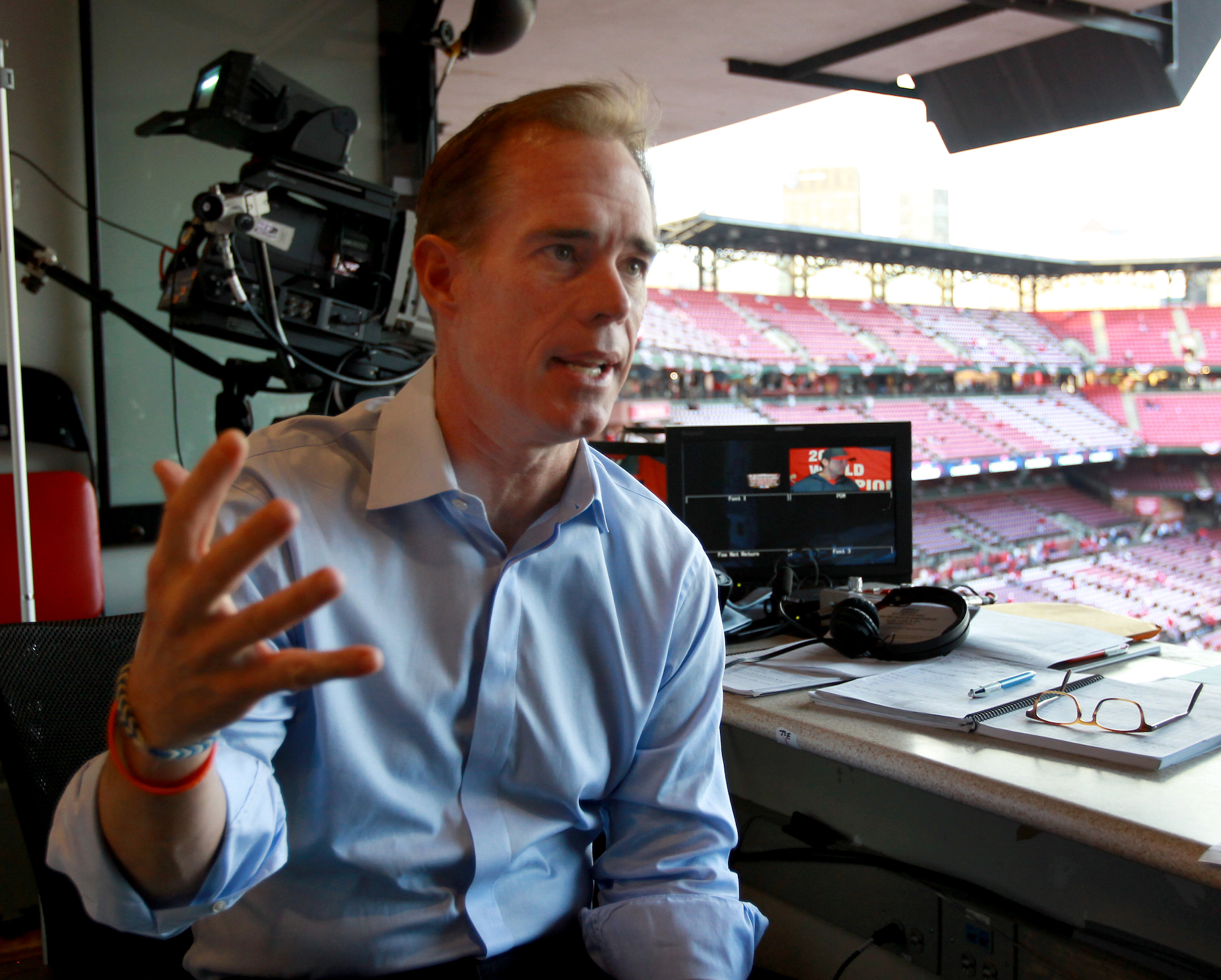 When he's feeling the heat during the Super Bowl or World Series, Joe Buck relies on a simple strategy to keep things in perspective.