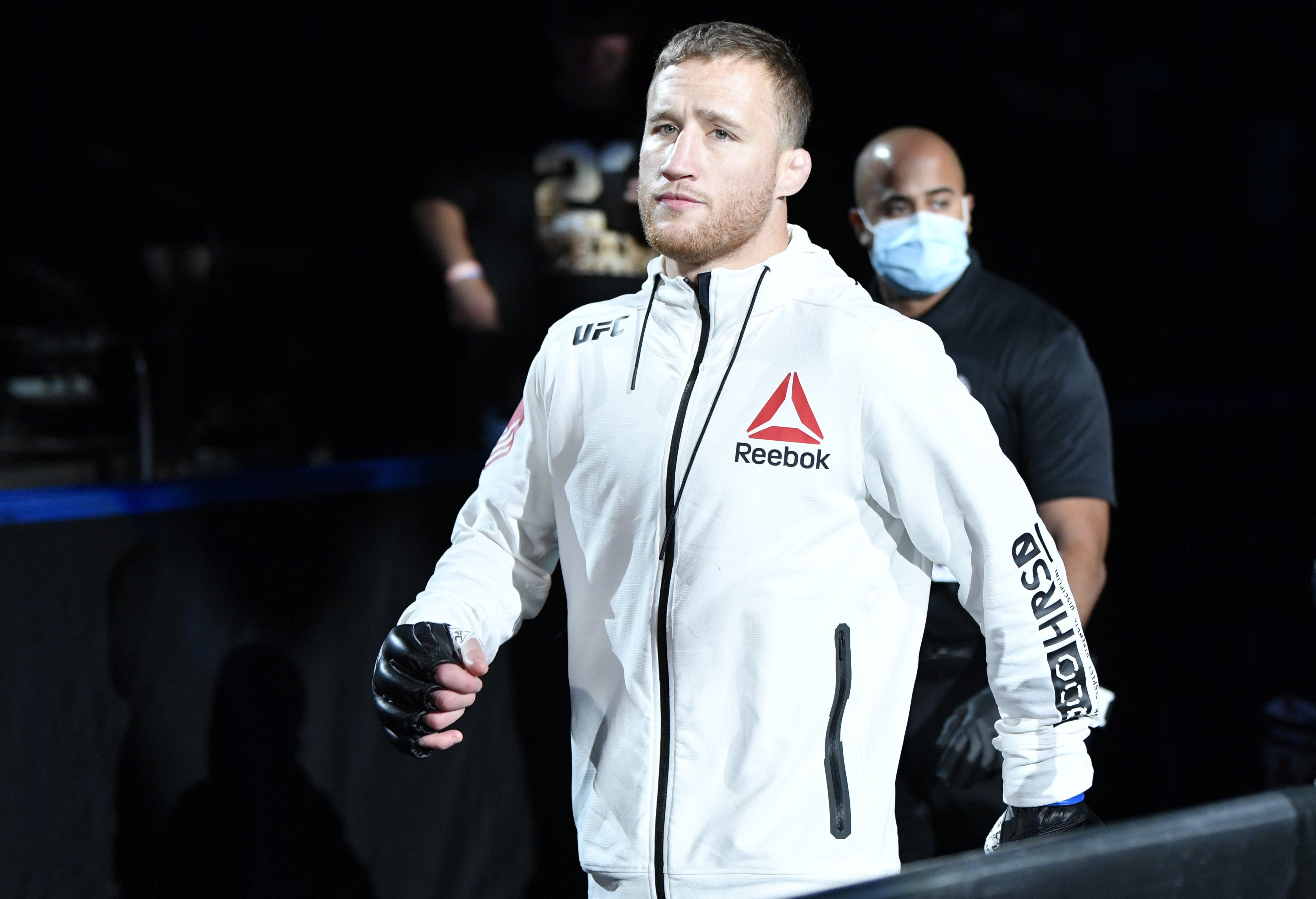 Justin Gaethje walks out before a UFC fight