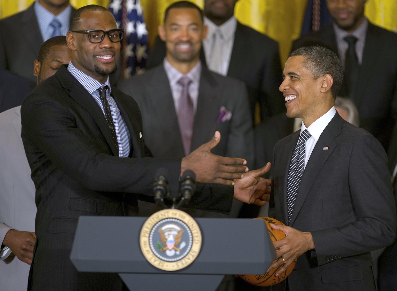 LeBron James with Barack Obama.