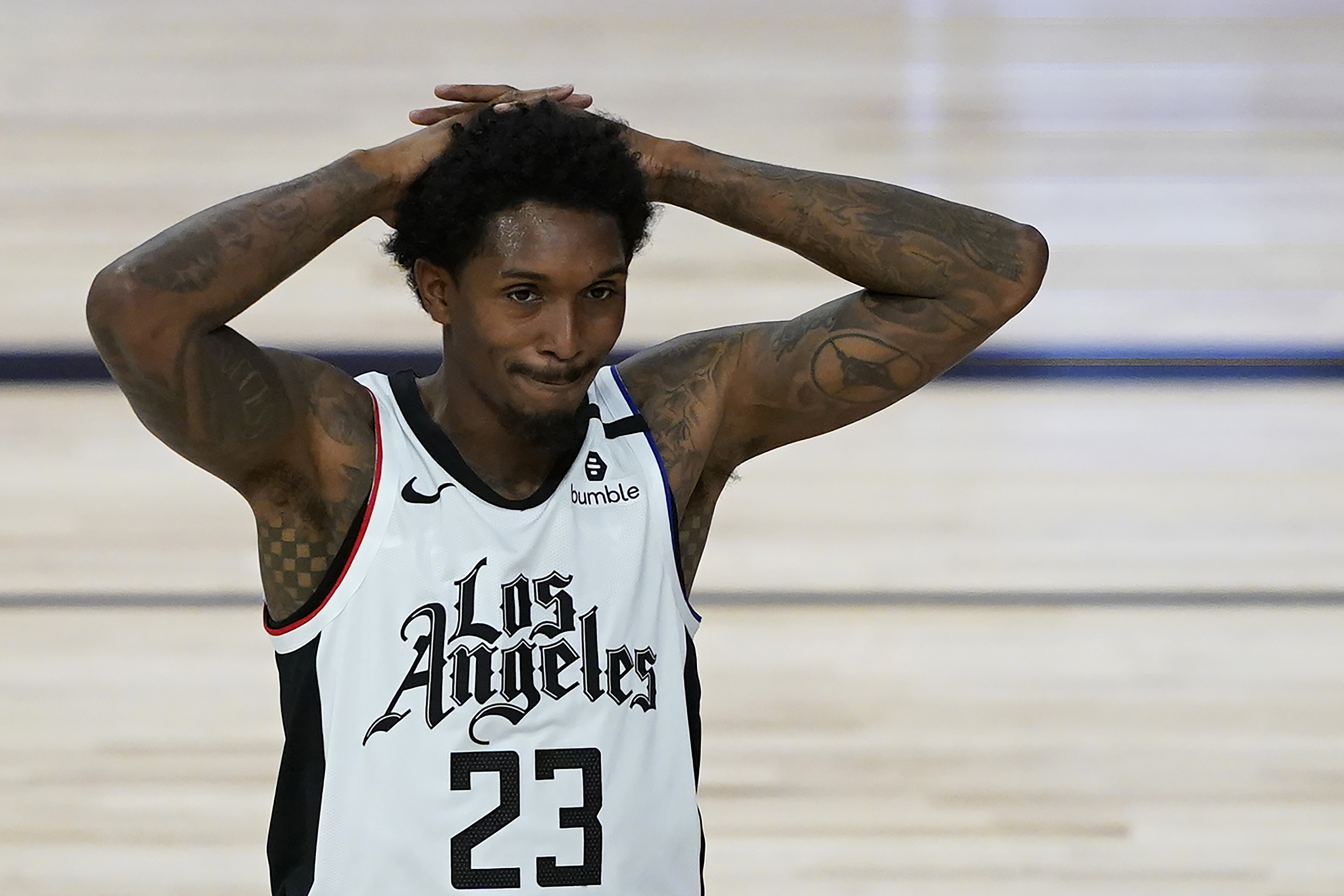 Lou Williams of the Los Angeles Clippers reacts after a play