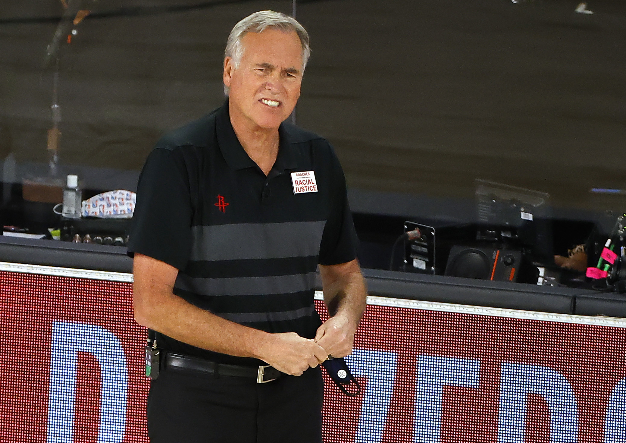 Mike D'Antoni looks on from the sideline during a Houston Rockets game