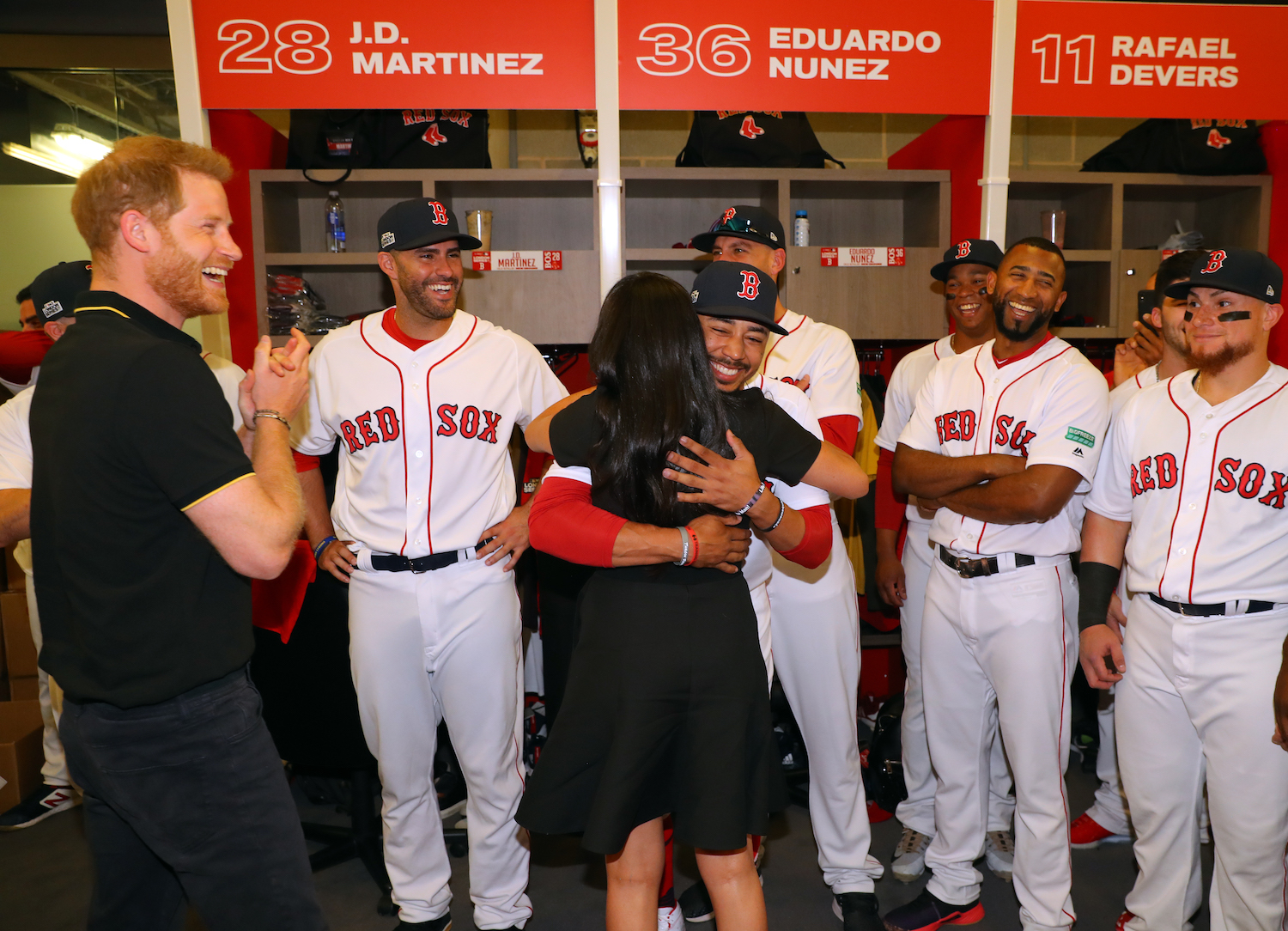 Meghan Markle greets distant relative Mookie Betts