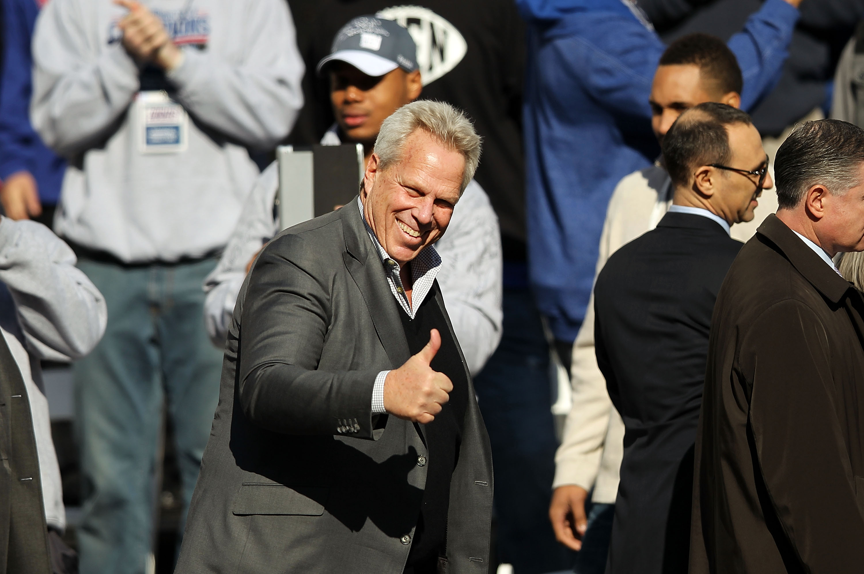 New York Giants co-owner Steve Tisch celebrates their Super Bowl win