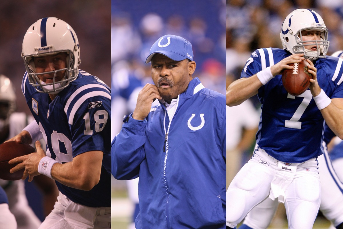 Indianapolis Colts quarterback Peyton Manning (L) lost out on a perfect season in 2009 because of head coach Jim Caldwell and backup quarterback Curtis Painter.