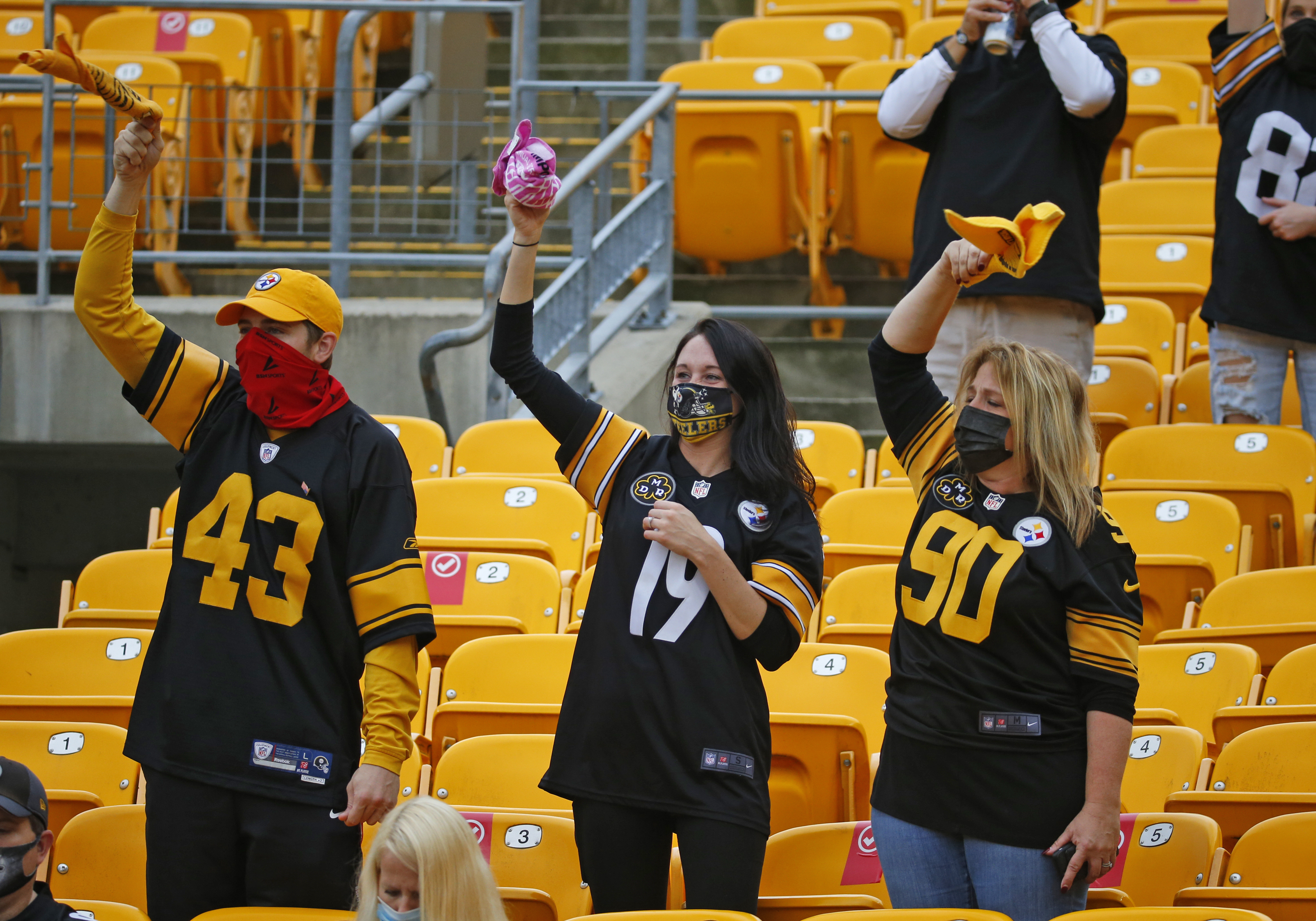 Pittsburgh Steelers fans cheer during a socially distanced game against the Eagles