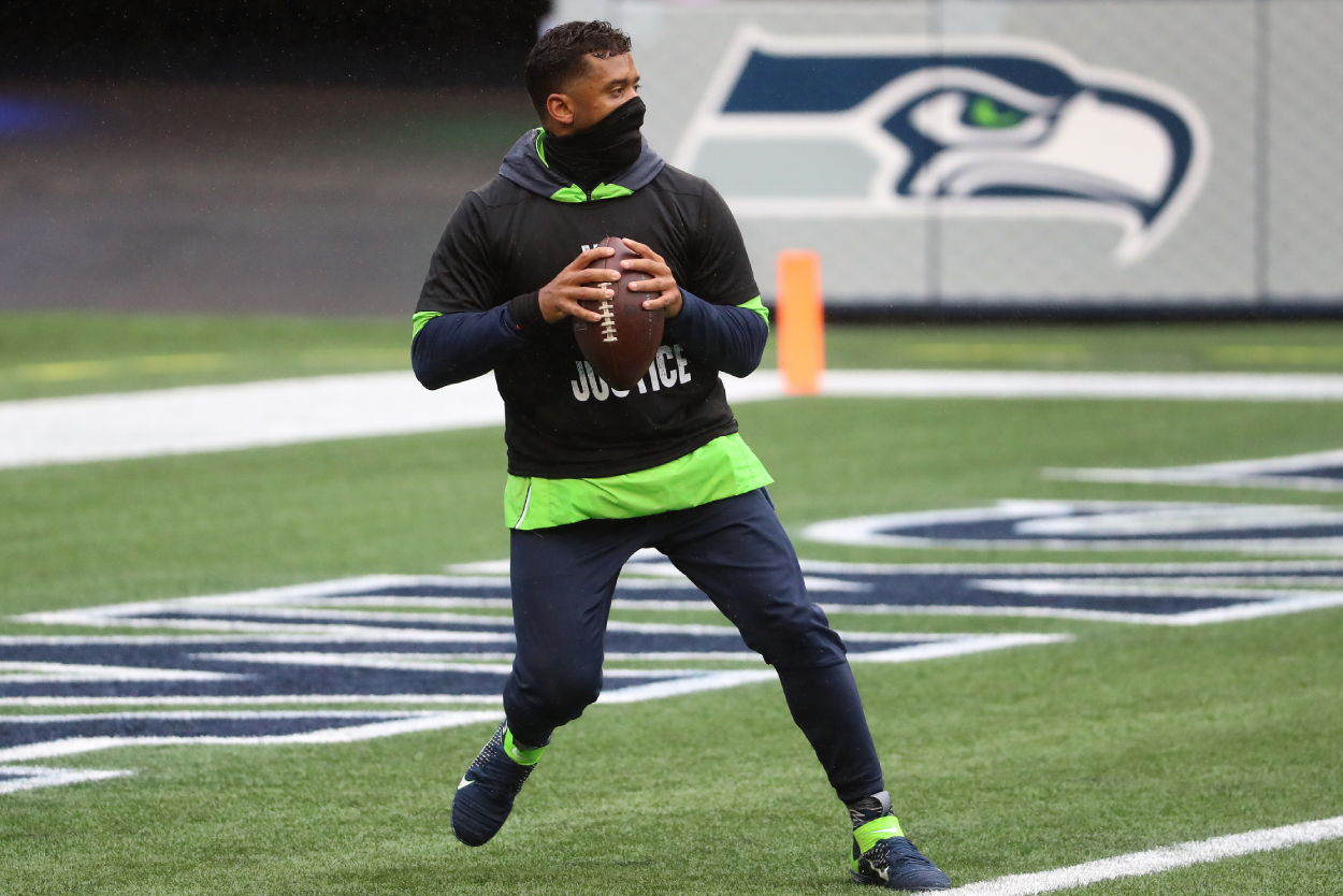 Russell Wilson warming up before a Seahawks game