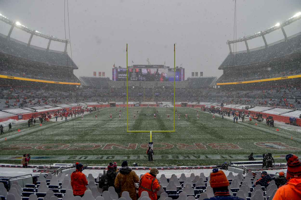 A snowy NFL stadium seen before a game