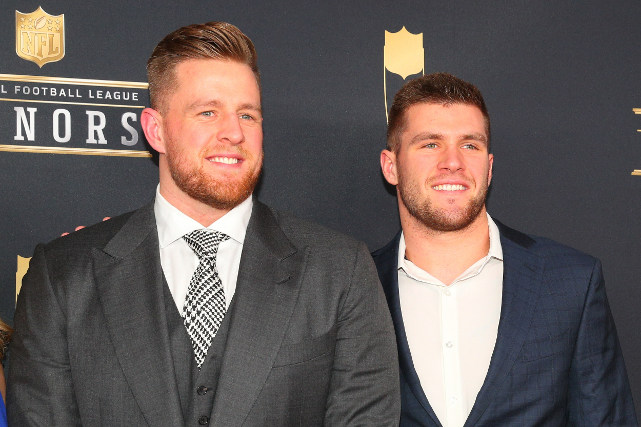 TJ and JJ Watt smile on together on the red carpet