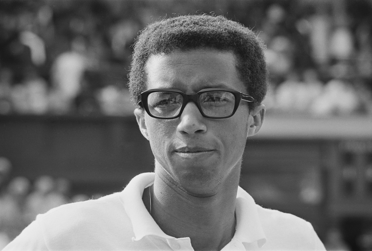Tennis player Arthur Ashe at Wimbledon in 1969