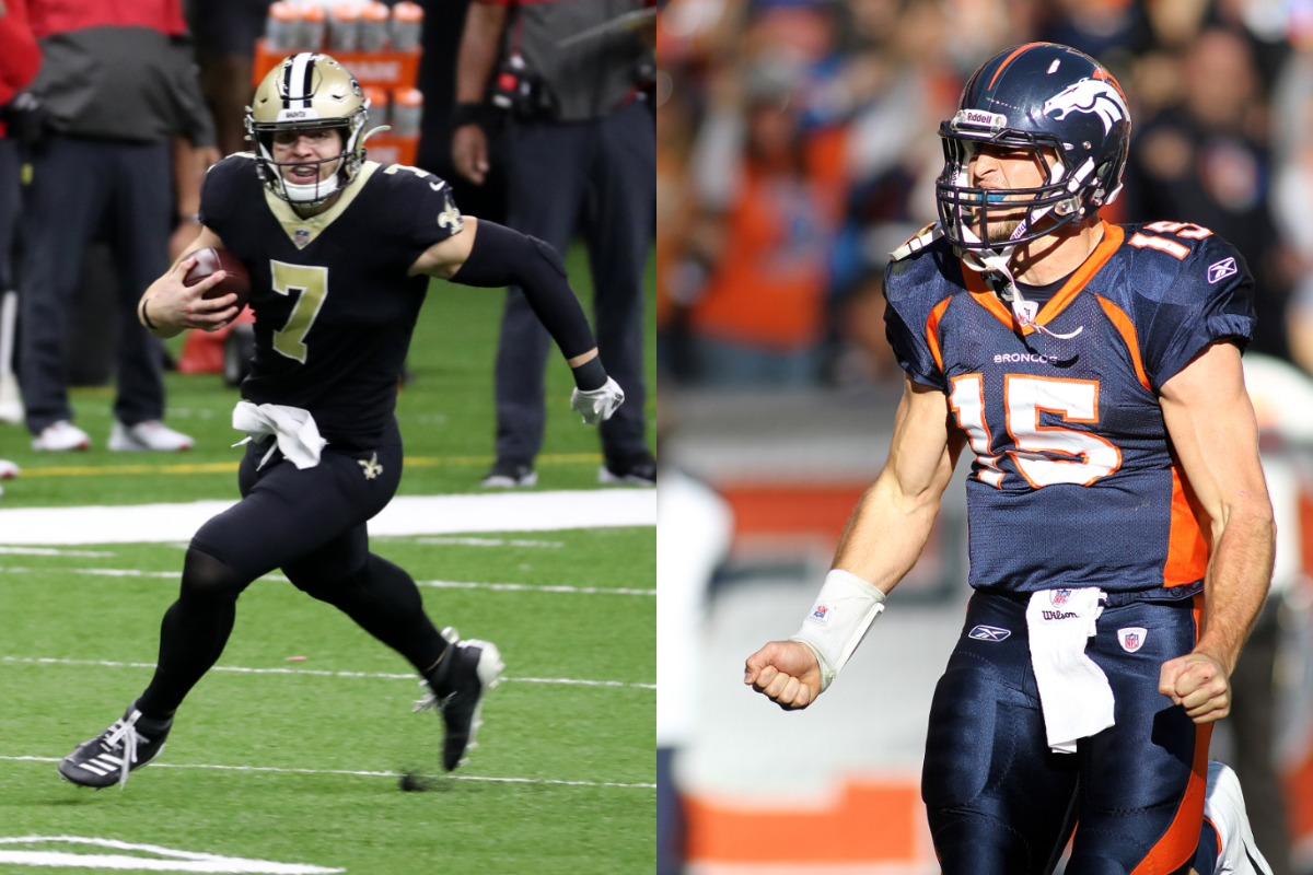 Had a player like Taysom Hill (L) played when Tim Tebow did, the latter may have had a longer NFL career.