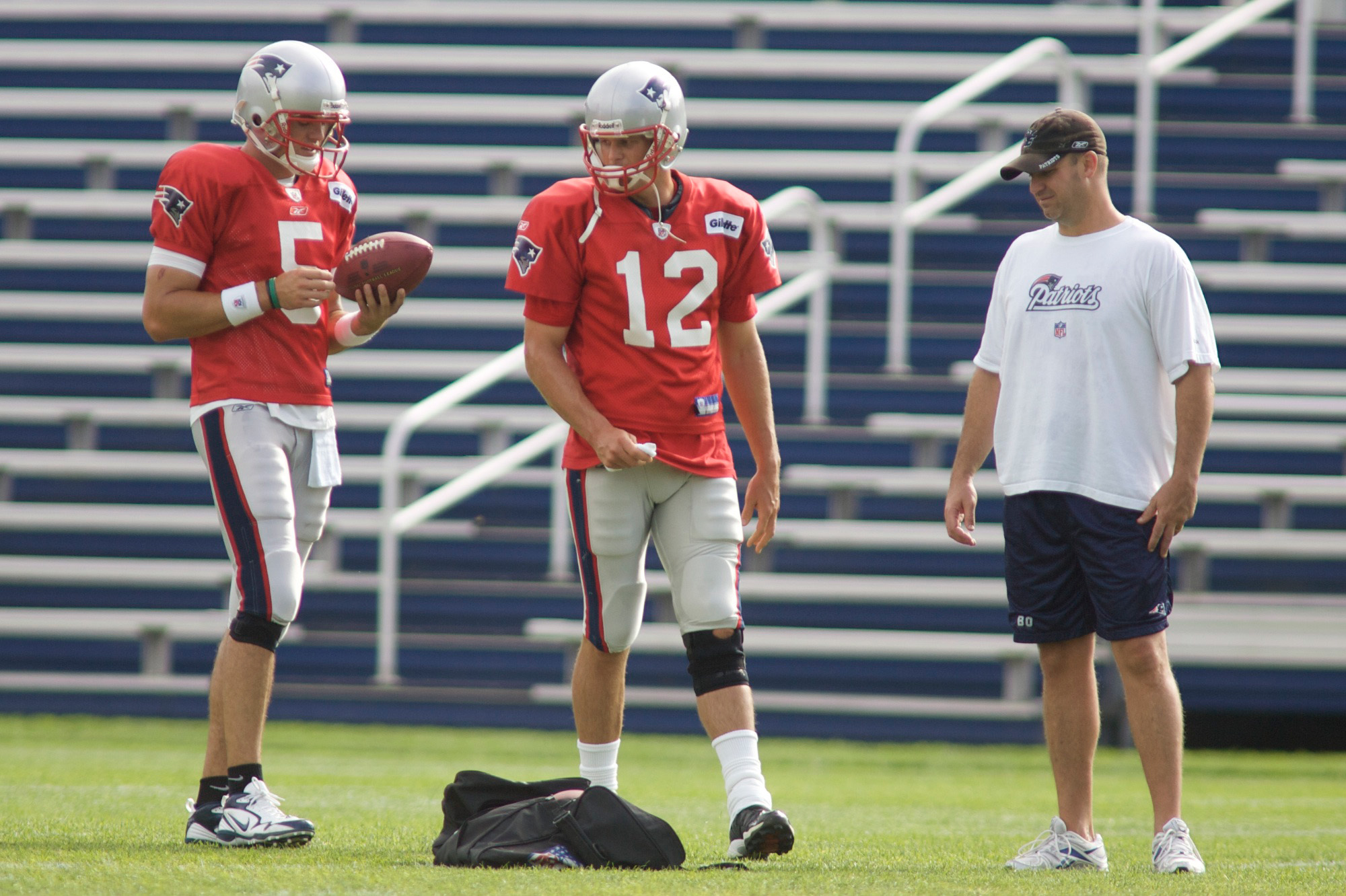 Tom Brady practicing with back-up Kevin O'Connell