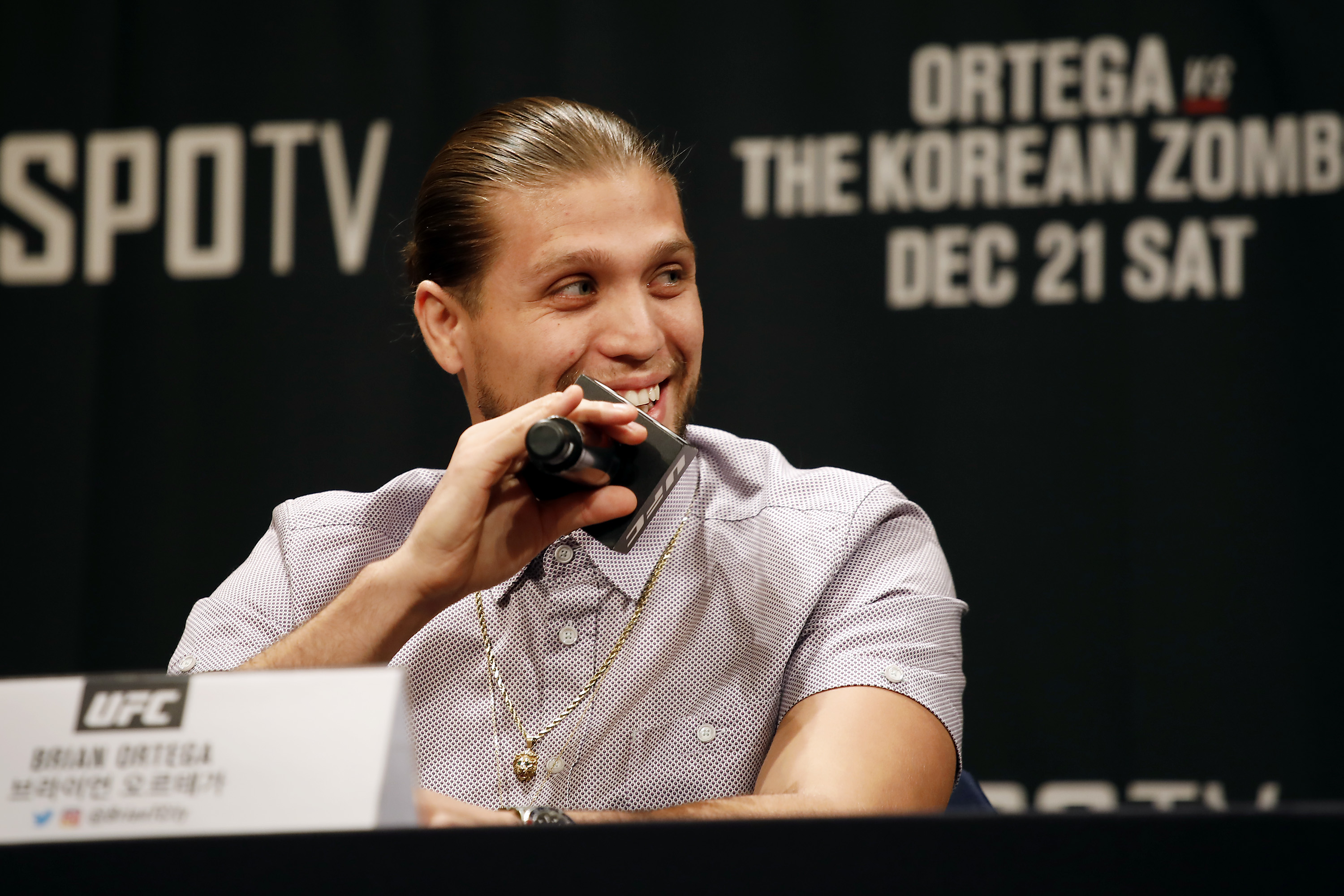 Brian Ortega attends a press conference of an MMA event