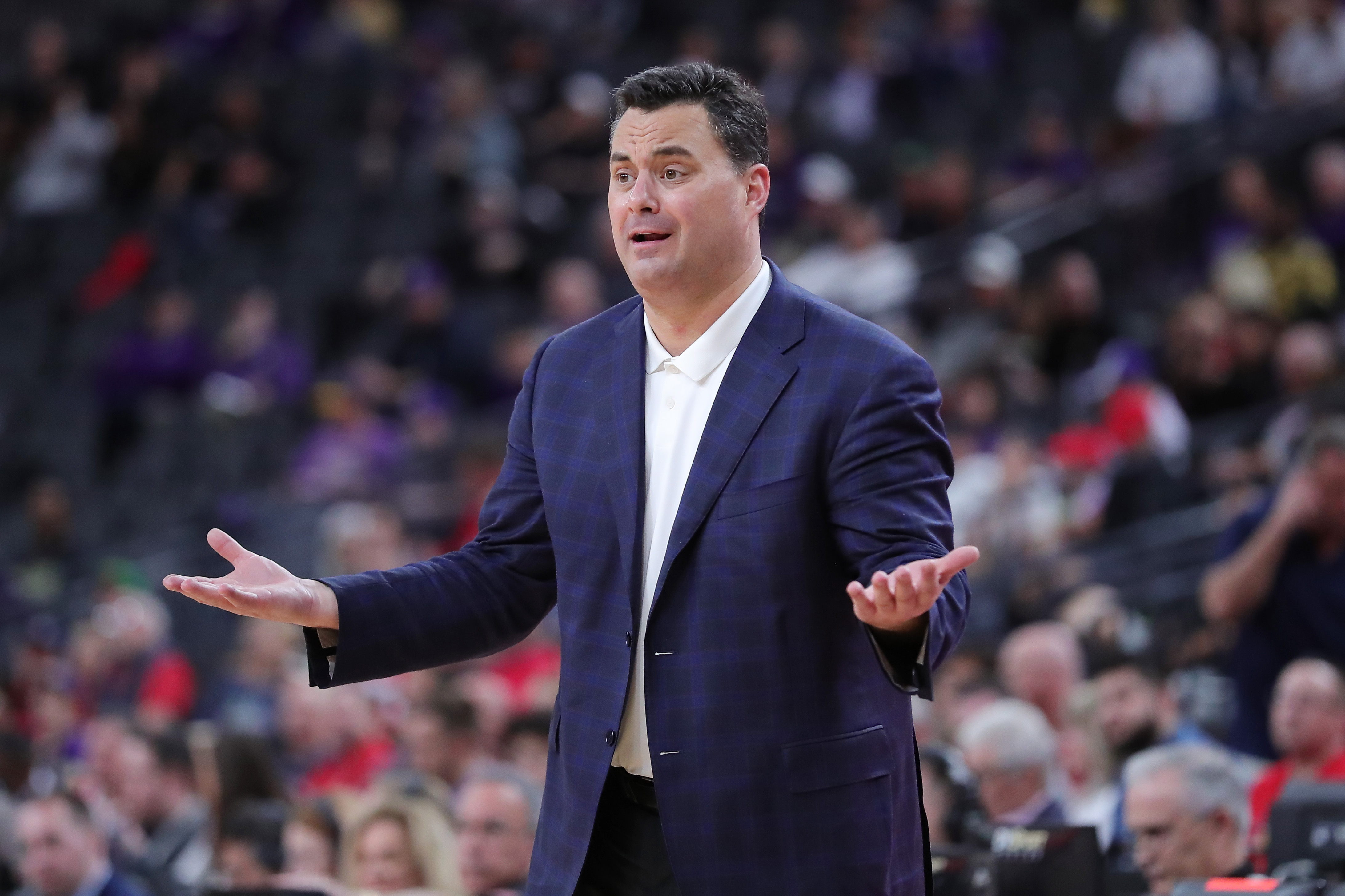 Head coach Sean Miller of the University of Arizona directing his team