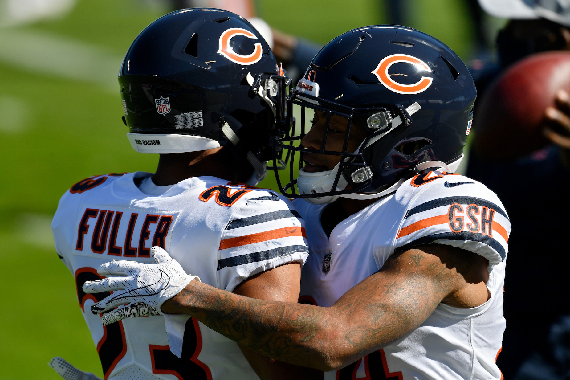 Why do the Chicago Bears wear GHS on their jersey?