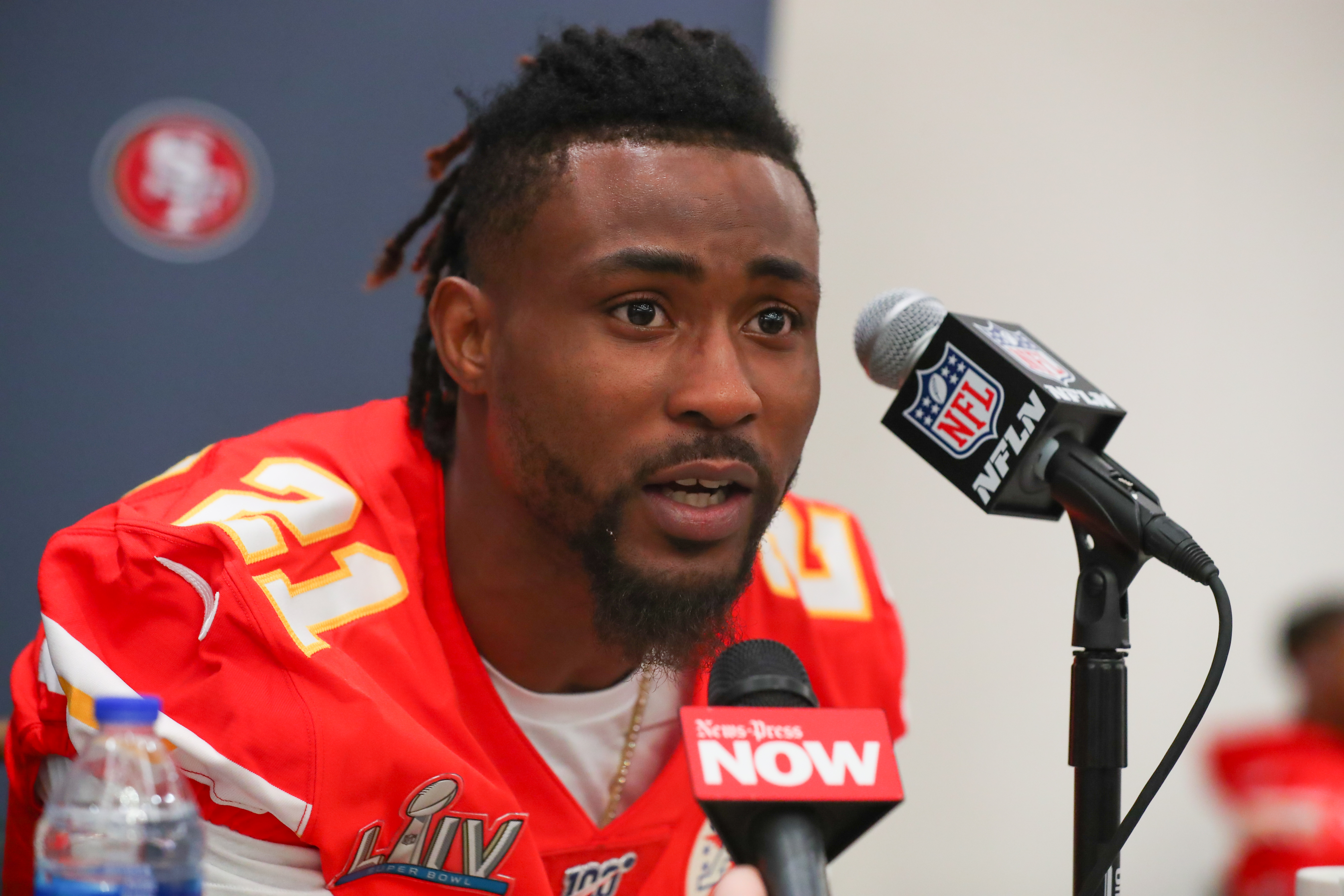 Kansas City Chiefs cornerback Bashaud Breeland answers questions from the media