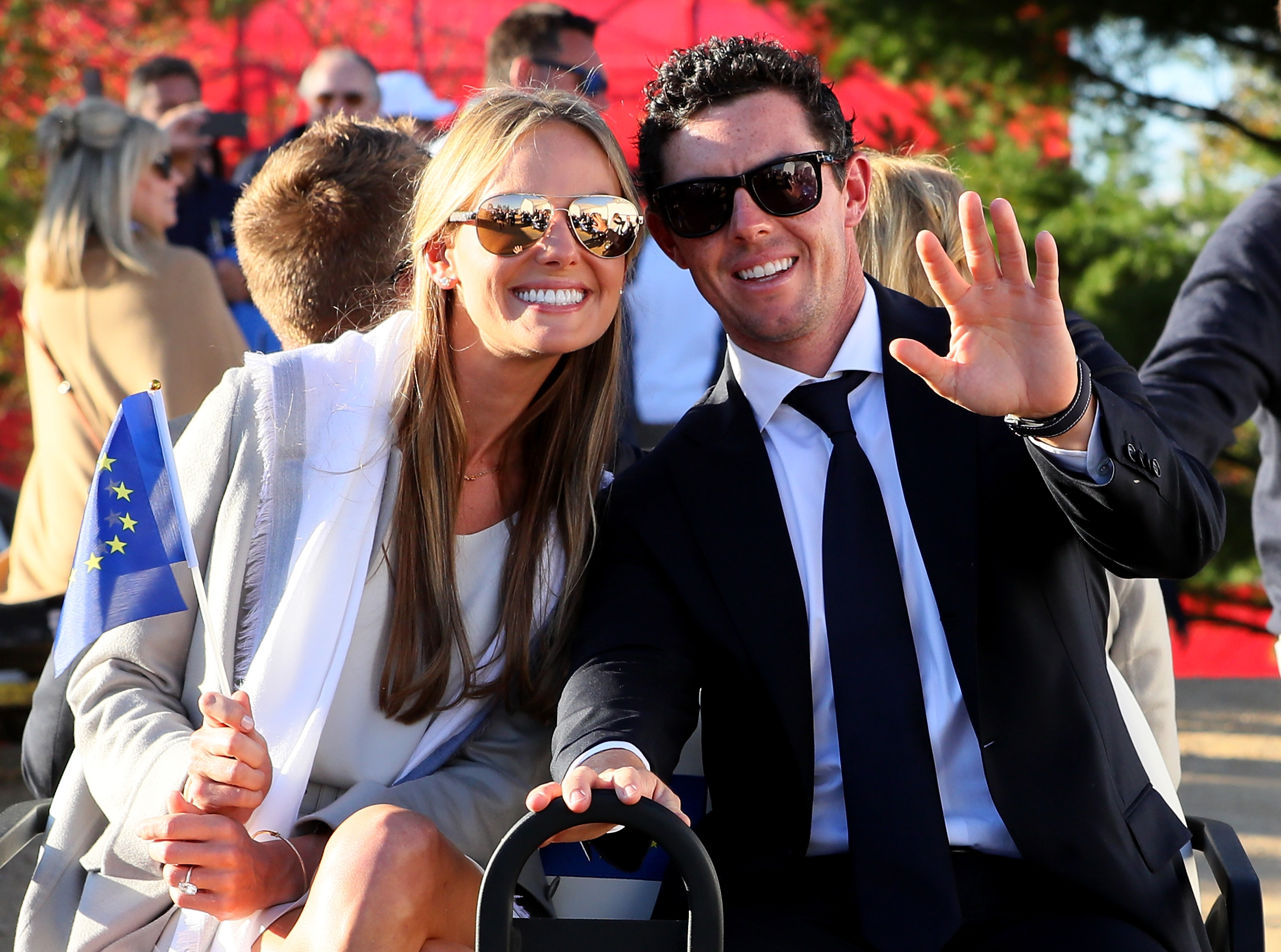 Erica Stoll and Rory McIlroy attend the 2016 Ryder Cup