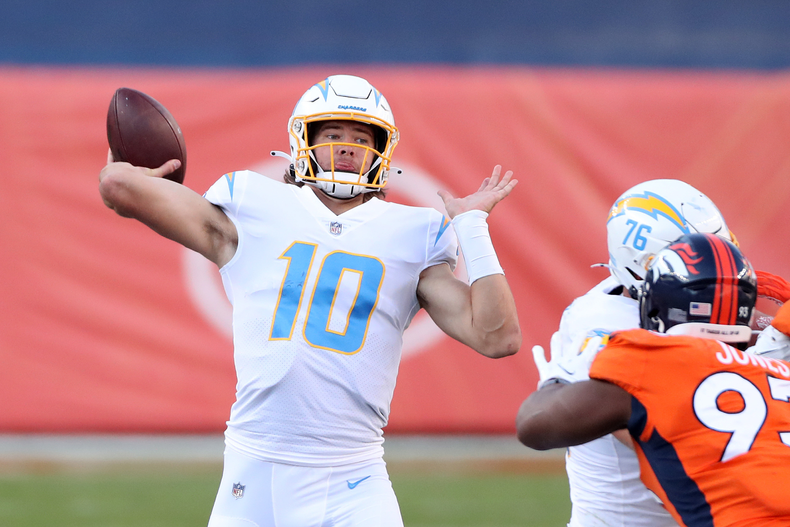 Justin Herbert has had a great start to his NFL career with the LA Chargers. Tony Romo is blown away by the rookie quarterback, too.