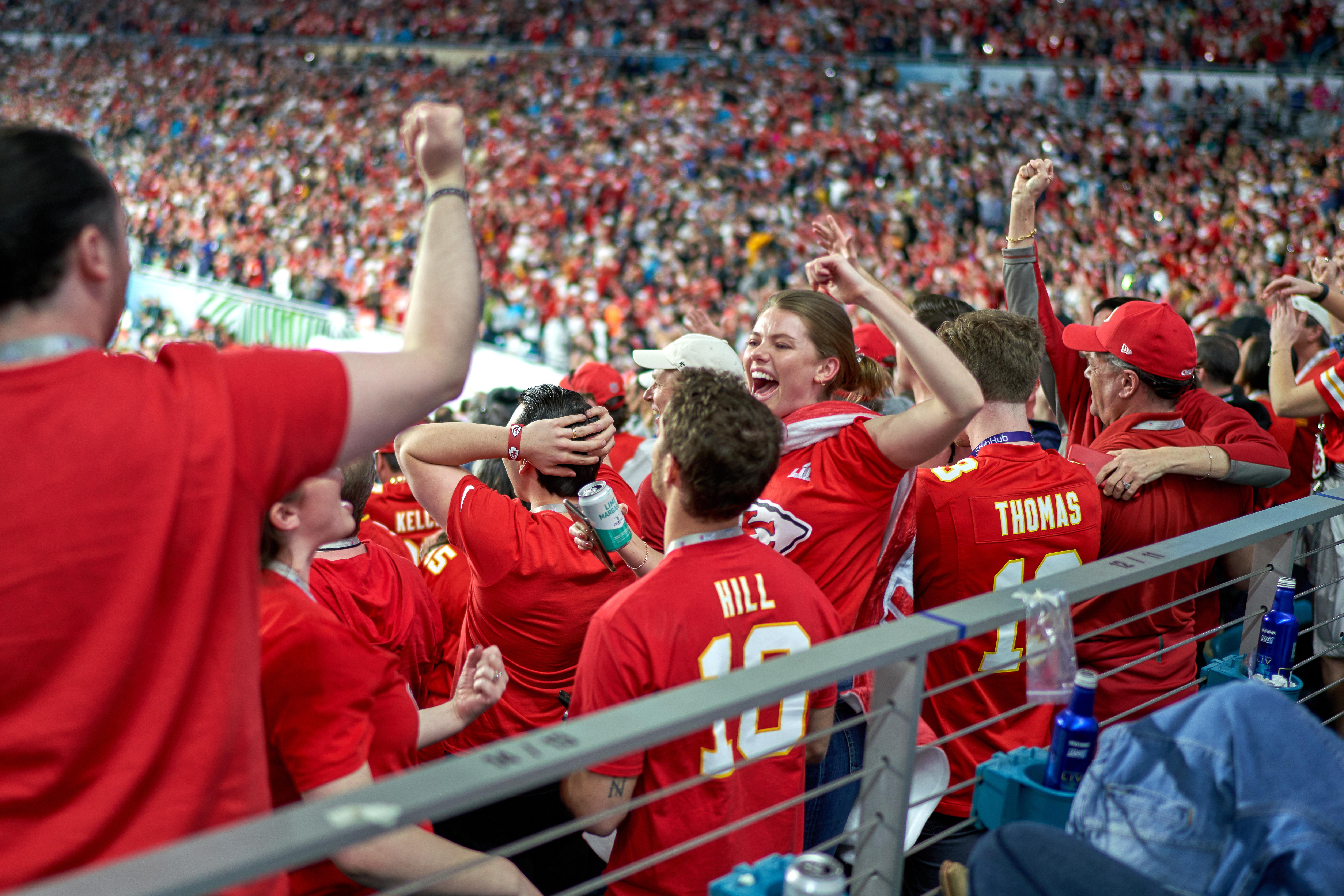 Kansas City Chiefs fans celebrate during Super Bowl LIV