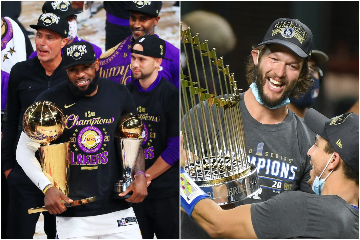 LeBron James and the Lakers and Clayton Kershaw and the Dodgers brought championship trophies to LA in 2020 -- and it wasn't the first time those teams won titles in the same year.