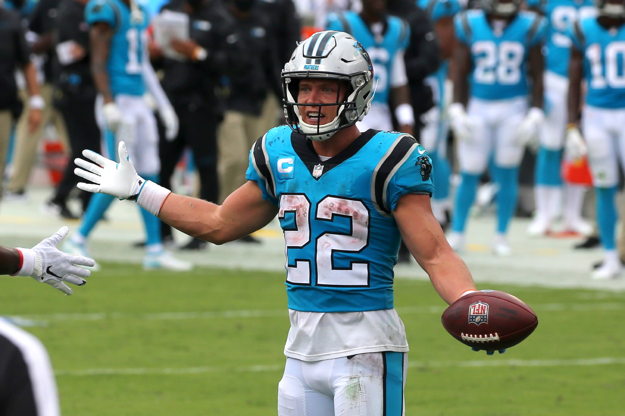 Christian McCaffrey celebrates a touchdown