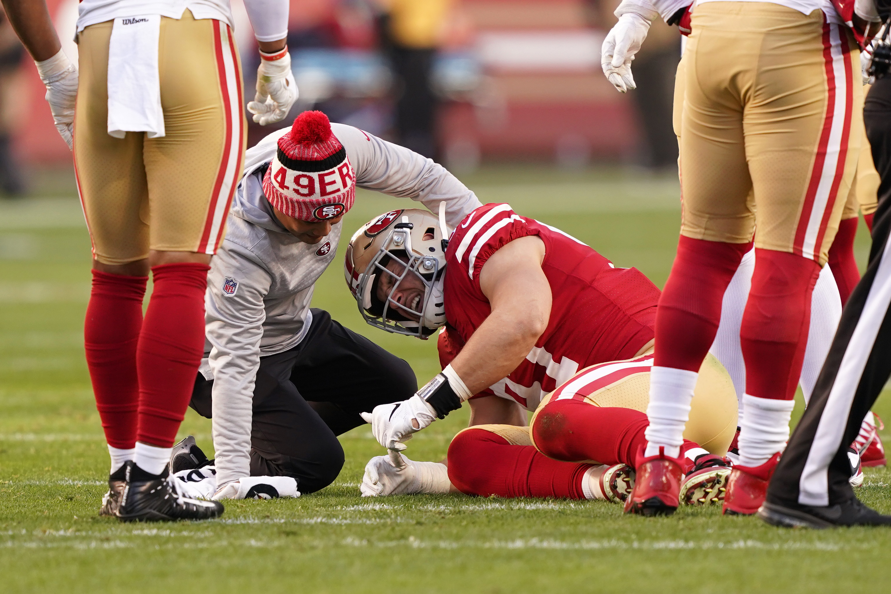 Nick Bosa of the San Francisco 49ers after an injury
