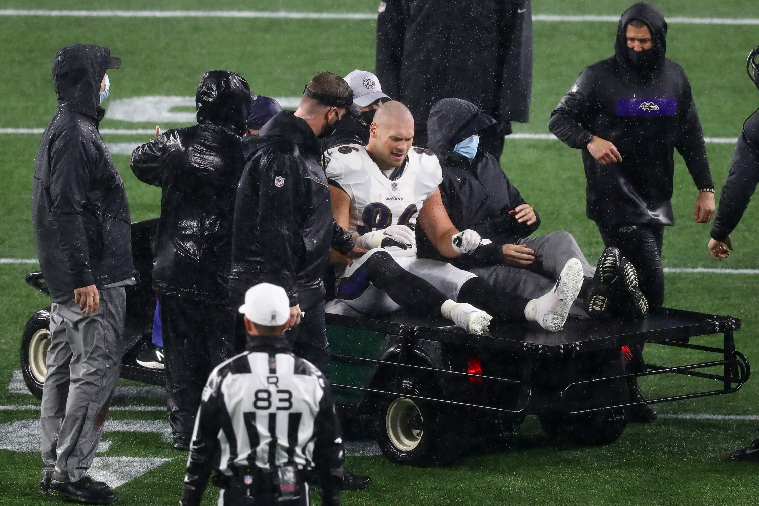 Ravens tight end Nick Boyle suffered a season-ending injury against the Patriots.
