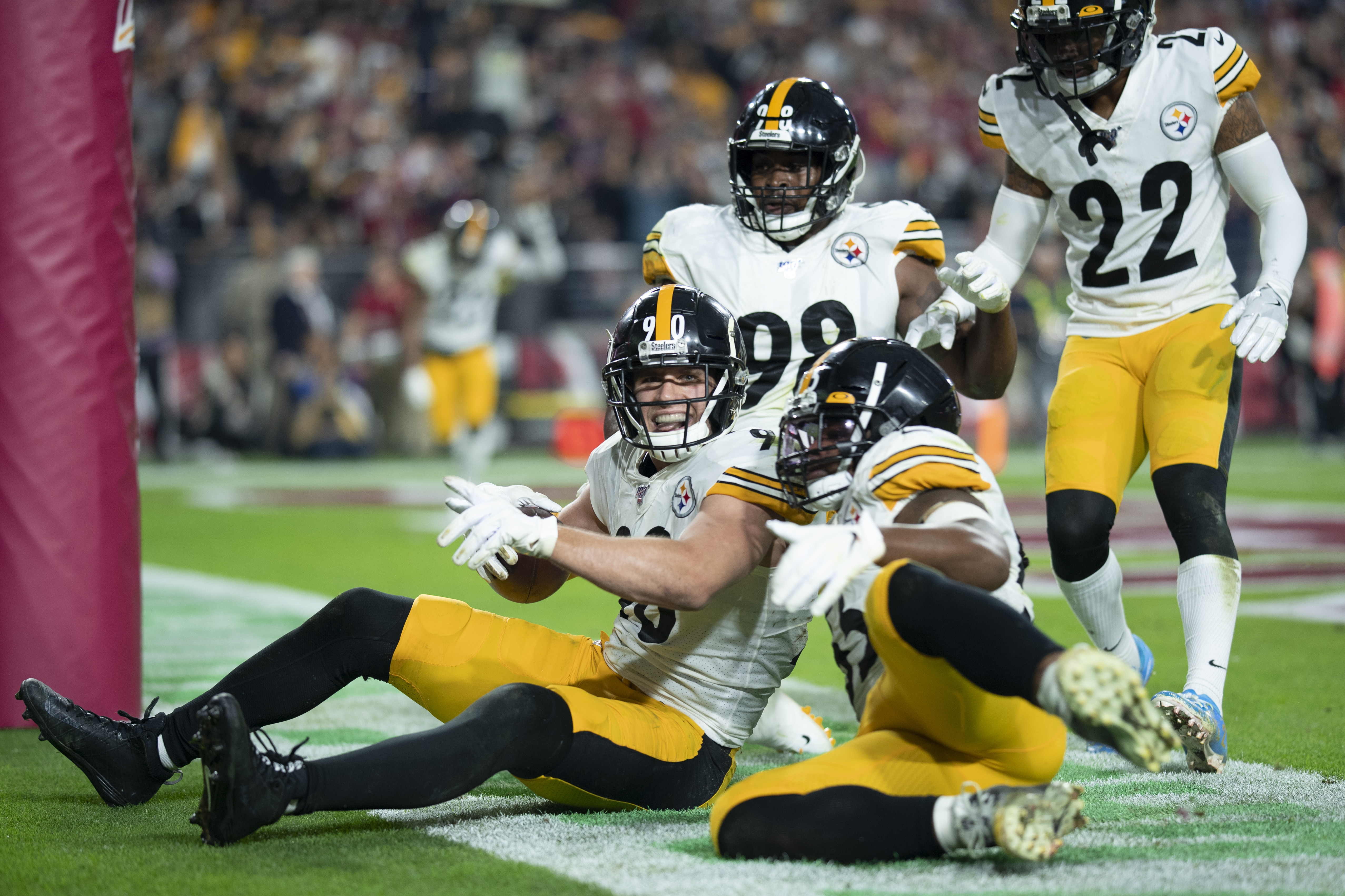 Outside linebacker T.J. Watt of the Pittsburgh Steelers celebrates with teammates