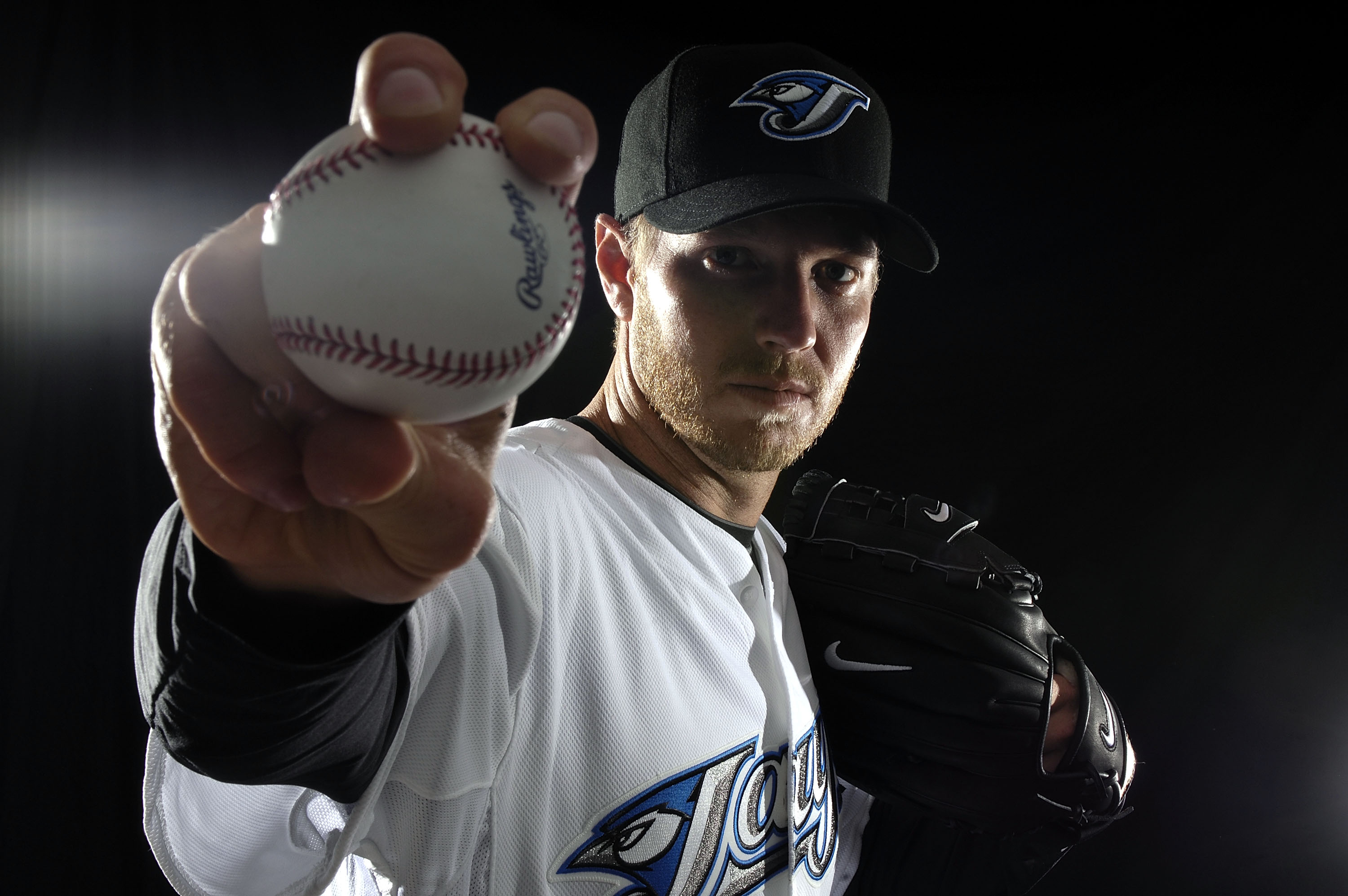 Pitcher Roy Halladay of the Toronto Blue Jays poses for a photo on media day in 2008