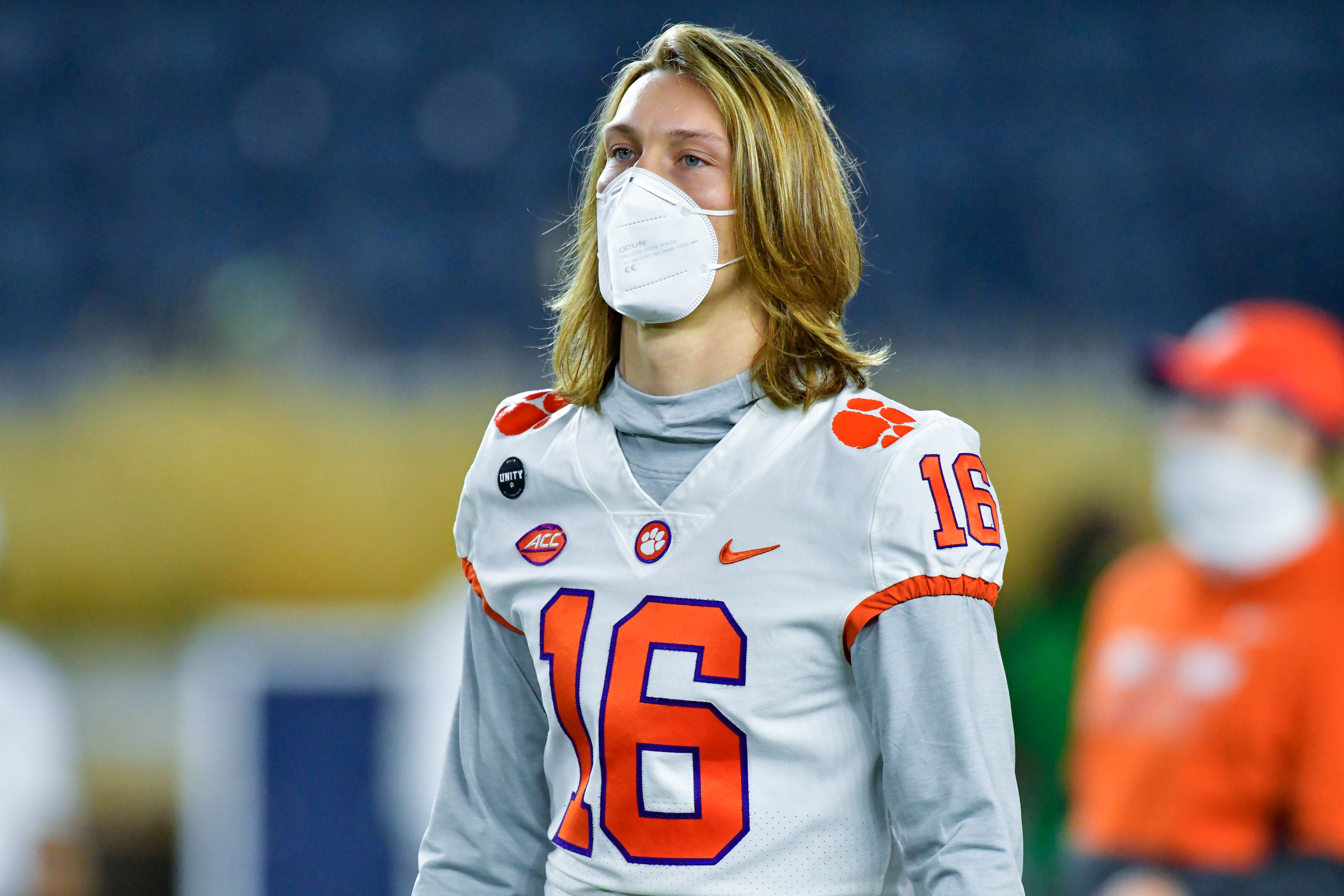 Quarterback Trevor Lawrence of the Clemson Tigers watches warmups