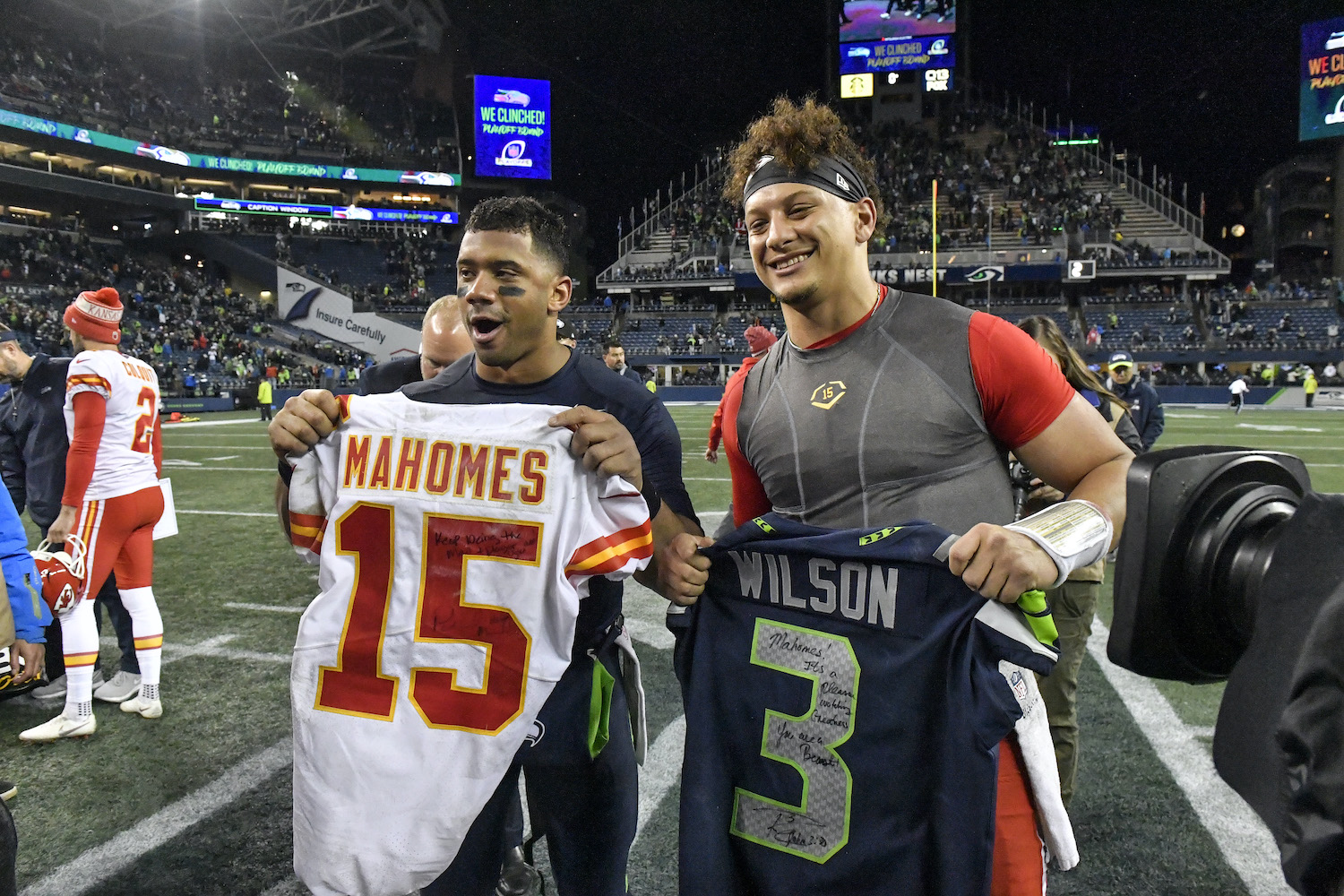 Russell Wilson's stellar play makes him a leading NFL MVP candidate, but Patrick Mahomes is complicating the race.