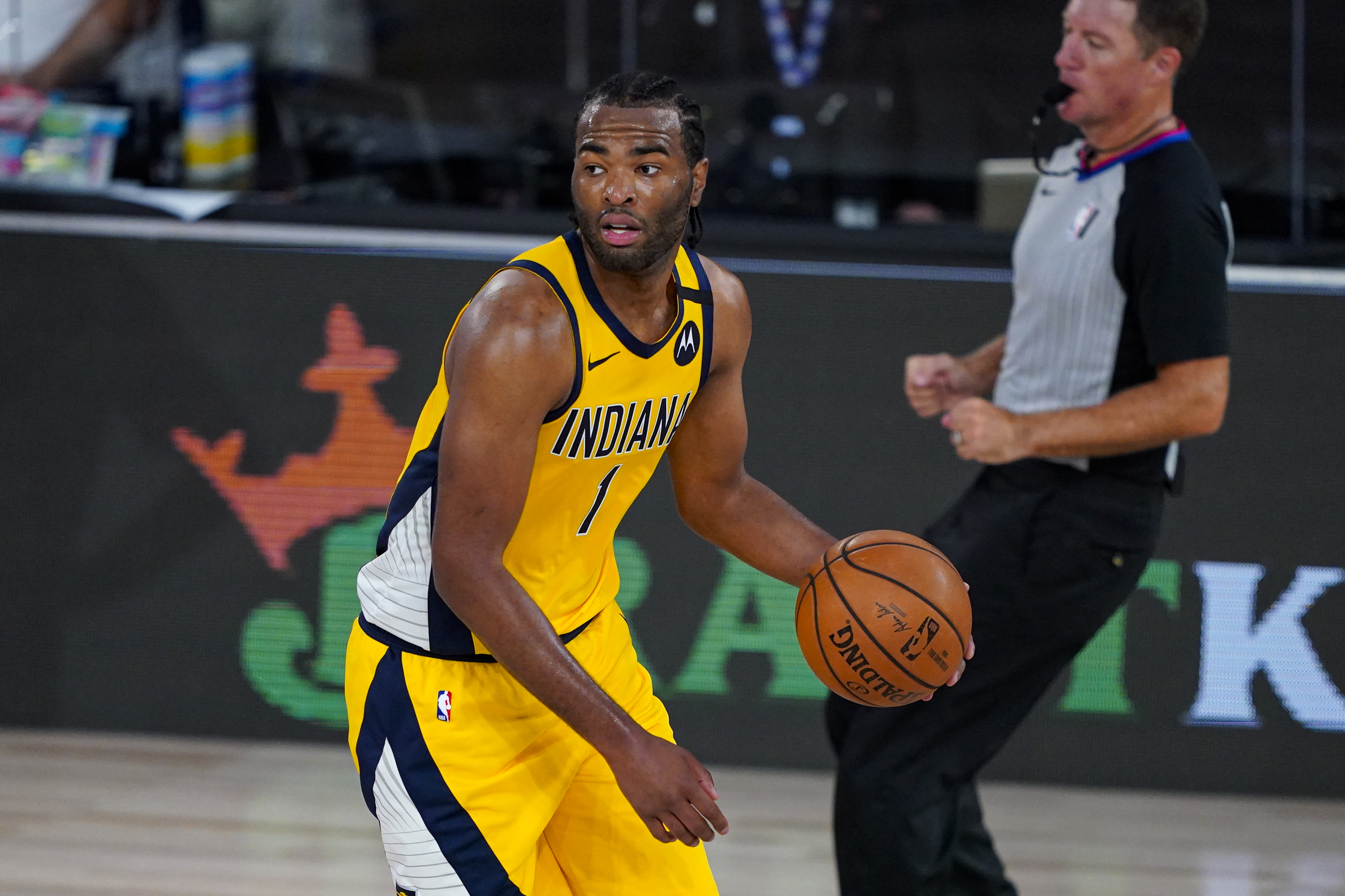 T.J. Warren of the Indiana Pacers controls the ball