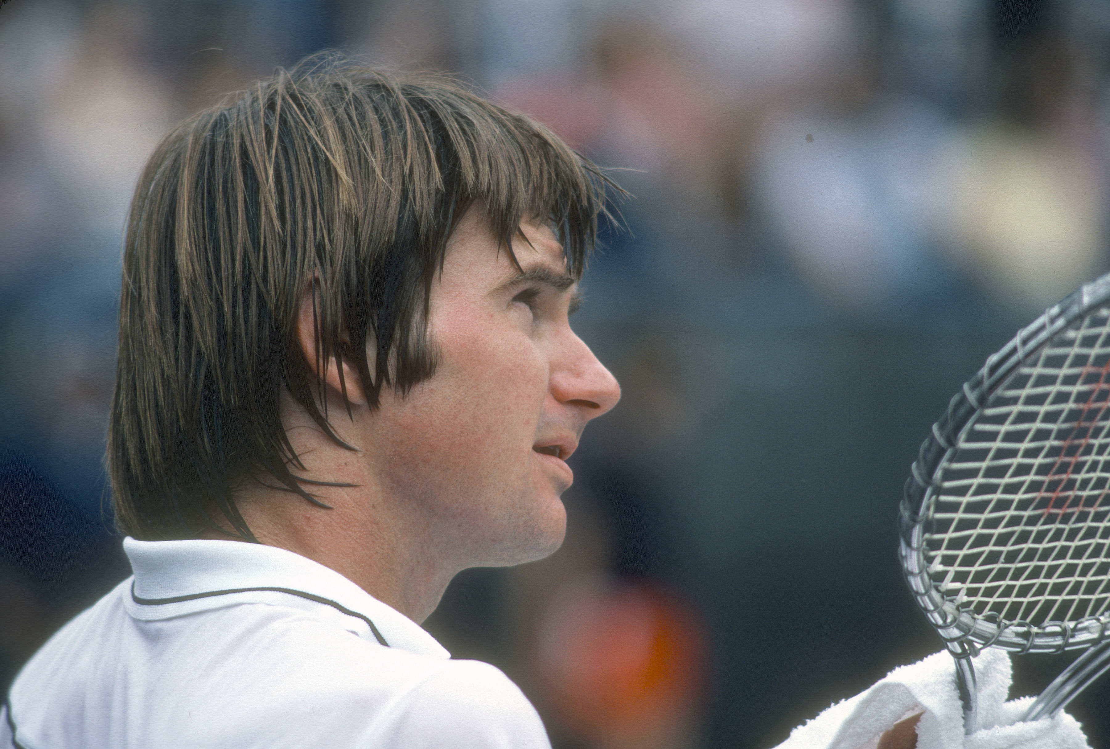 Jimmy Connors looks on in between games during the Men's 1981 US Open Tennis Championships