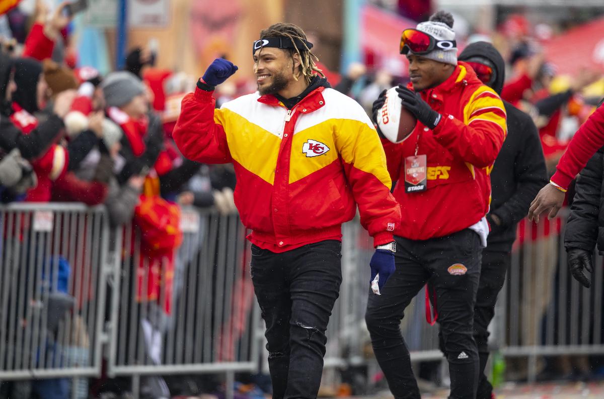 Tyrann Mathieu of the Kansas City Chiefs walks the Super Bowl LIV parade route