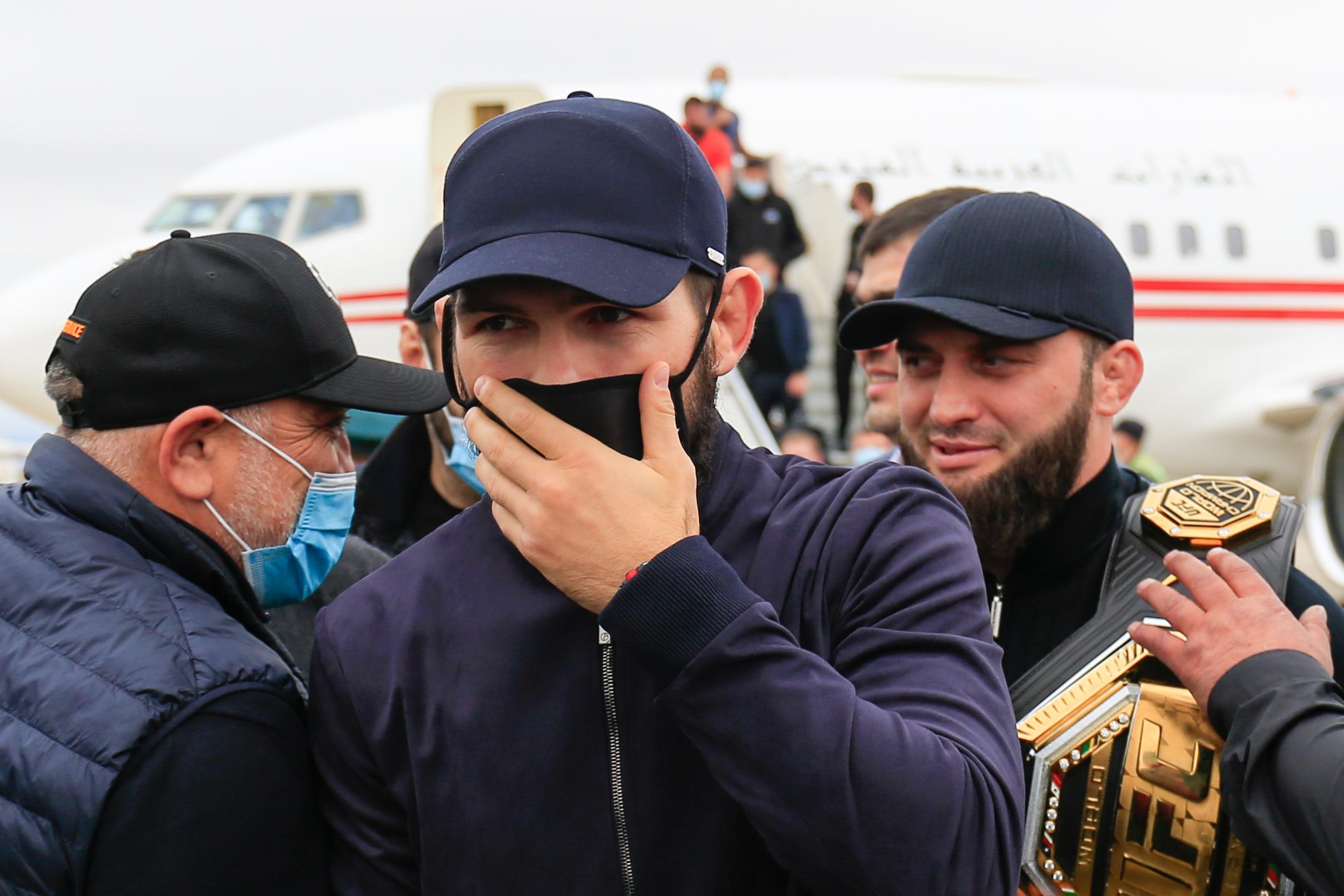 UFC Lightweight Champion Khabib Nurmagomedov is welcomed at a city airport