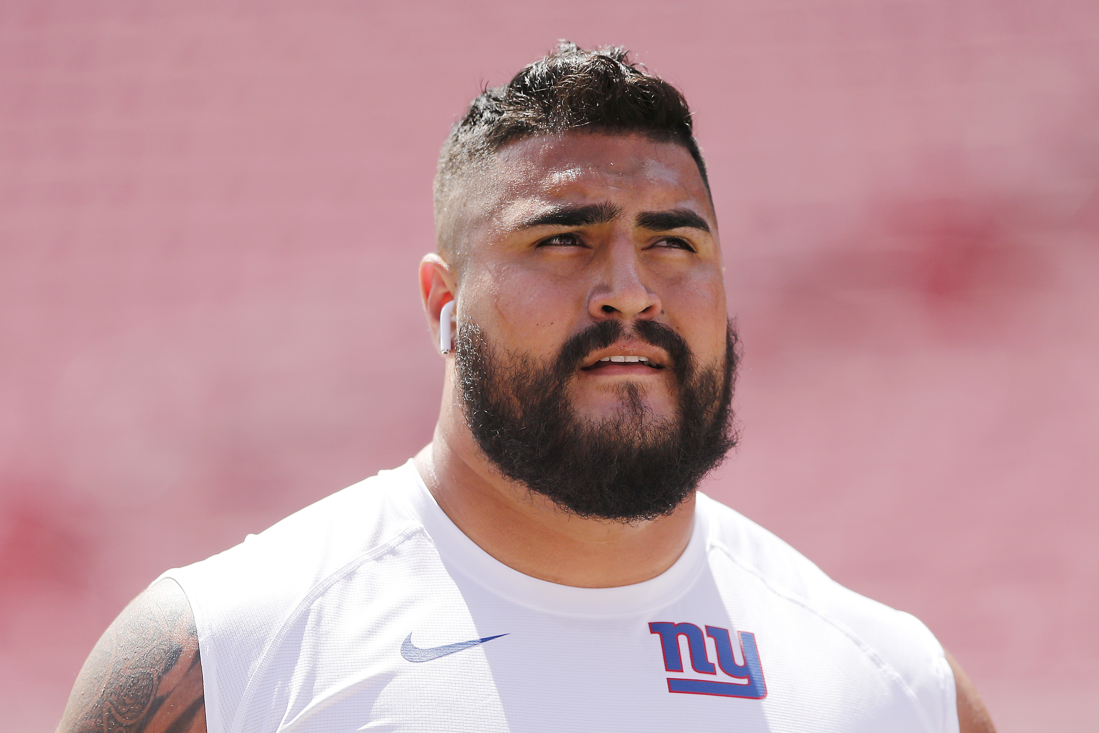 Will Hernandez of the New York Giants looks on prior to a game